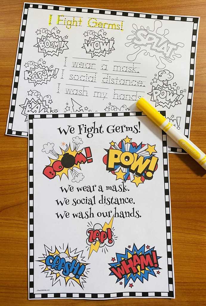 We are germ fighters posters, Superhero activities, superhero bulletin board ideas, BTS Covid activities, Mask activities, Name writing activities, What's your superhero name activties, superhero posters, superhero crafts, superhero coloring pages