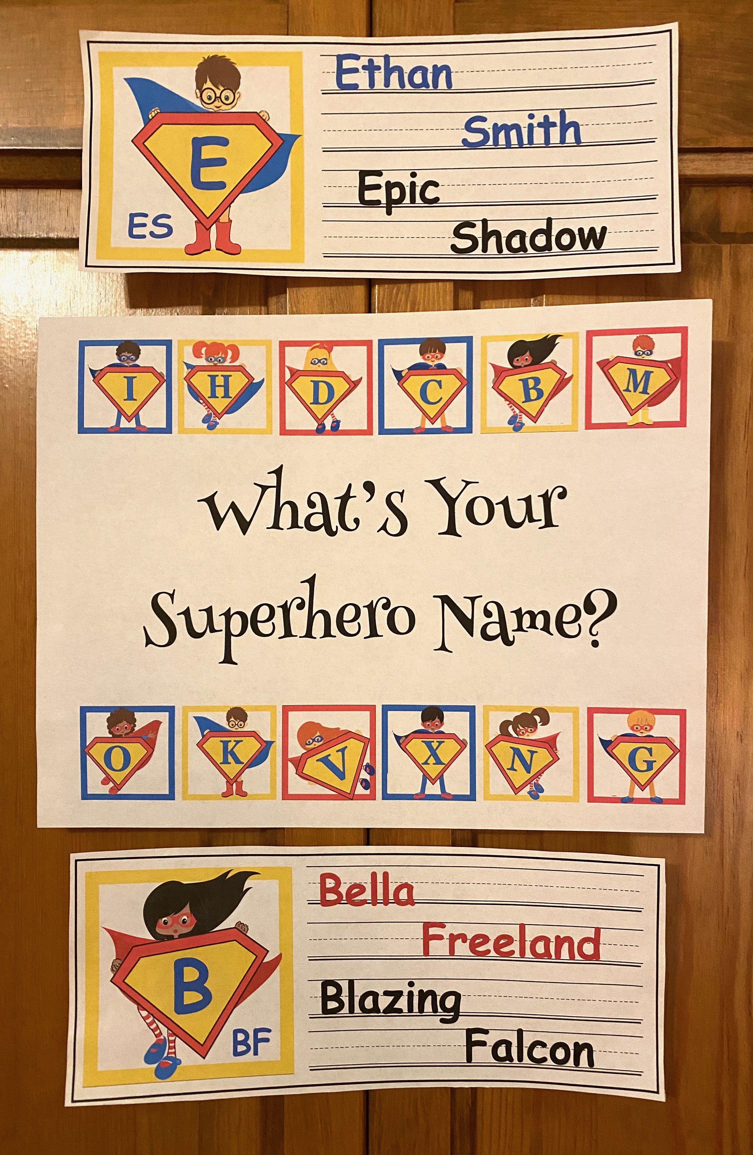 What is your superhero name cards