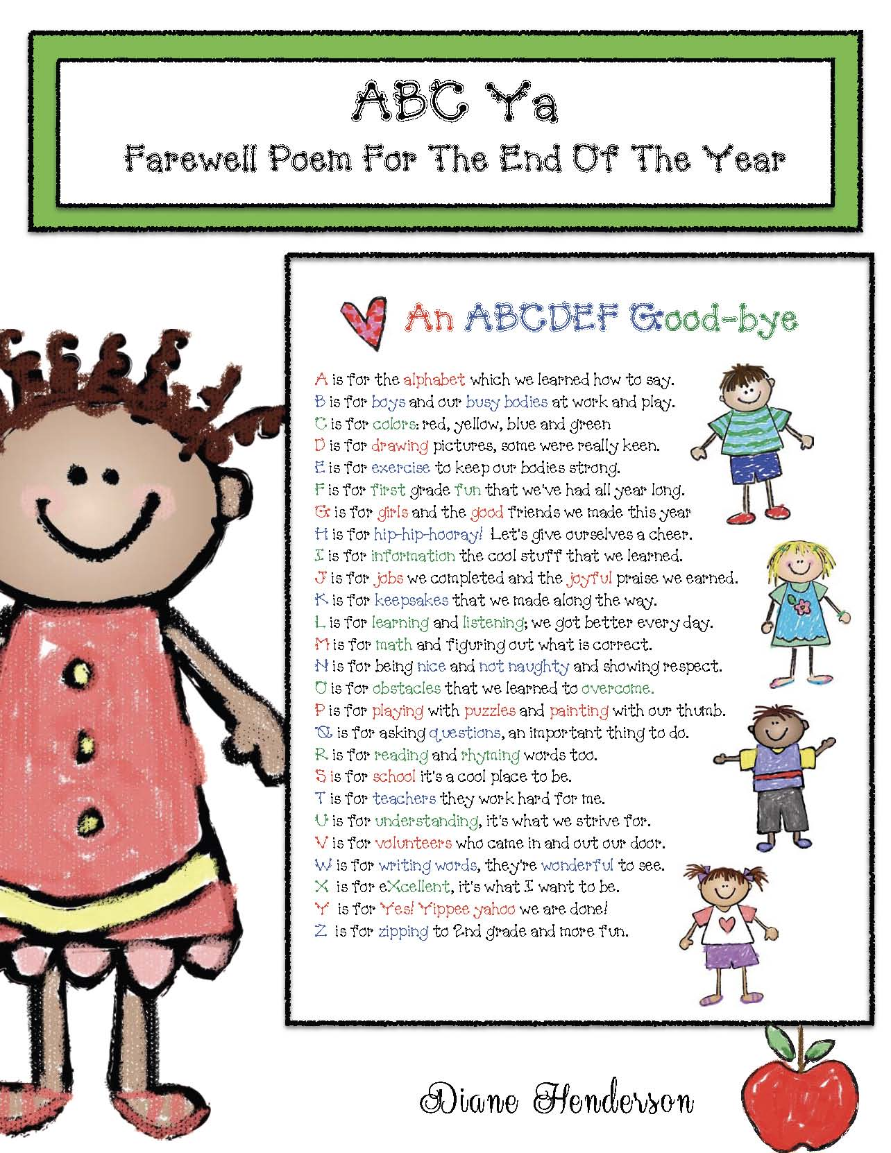 end of the year poem, memory book ideas, end of the year activities, note from teacher for the end of the year
