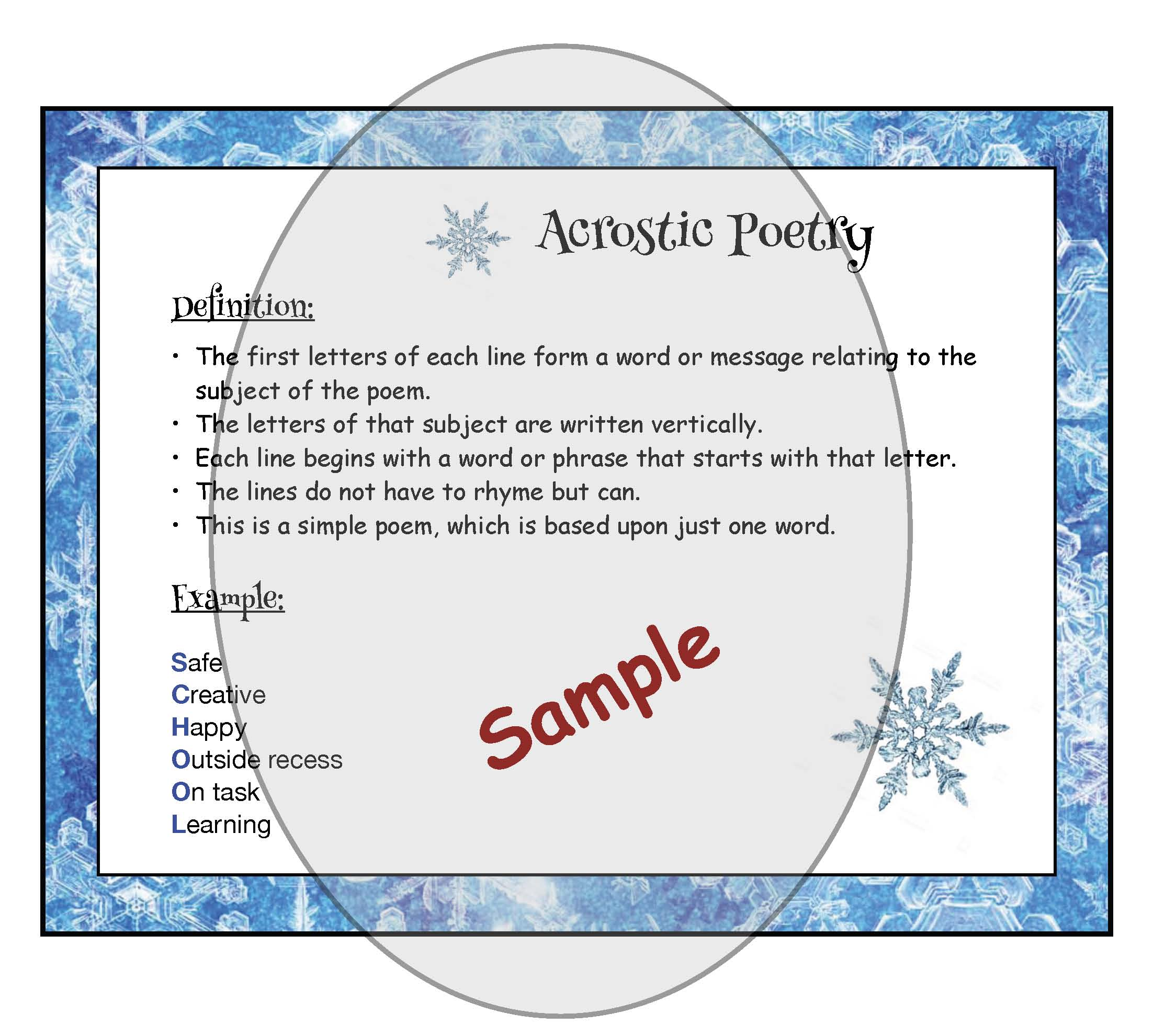 winter crafts, sledding craft, winter bulletin board ideas, acrostic poems, acrostic poetry, sledding poem, winter writing prompts, January bulletin board ideas, snow crafts