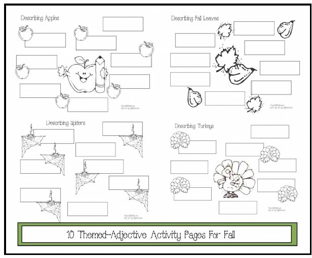 adjective themed activities, descriptive writing