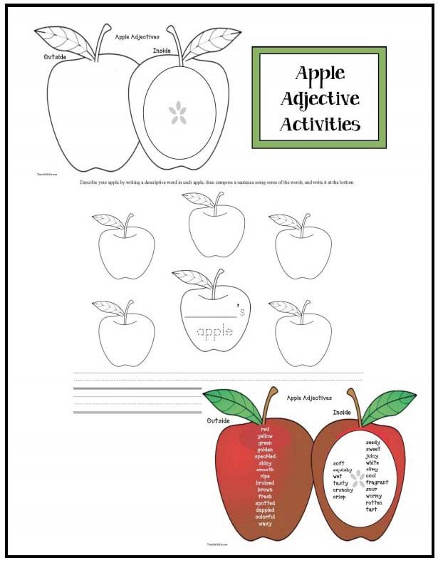 apple adjectives, descriptive writing, apple activities