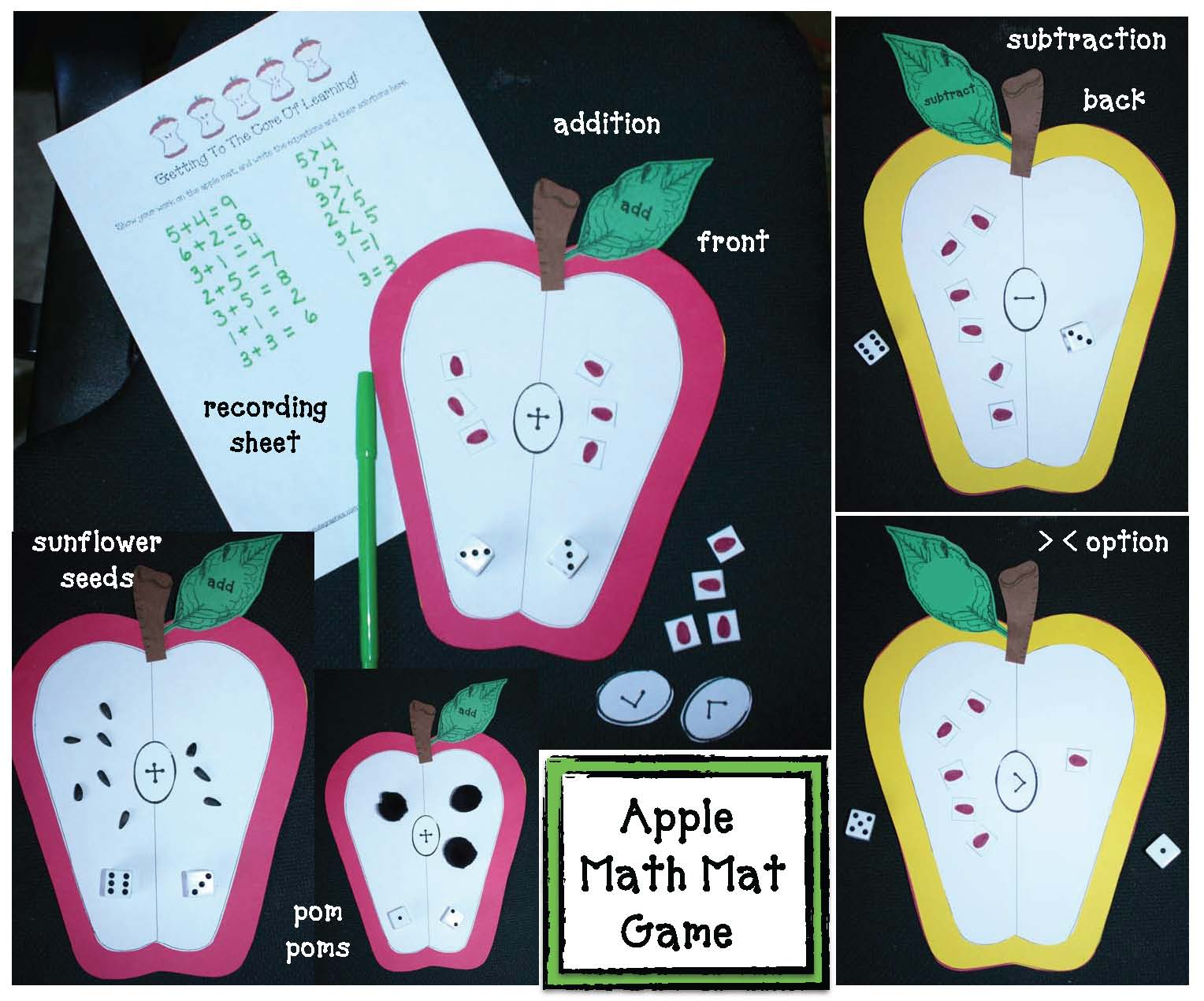 apple themed math game, apple math center, addition games, subtraction games