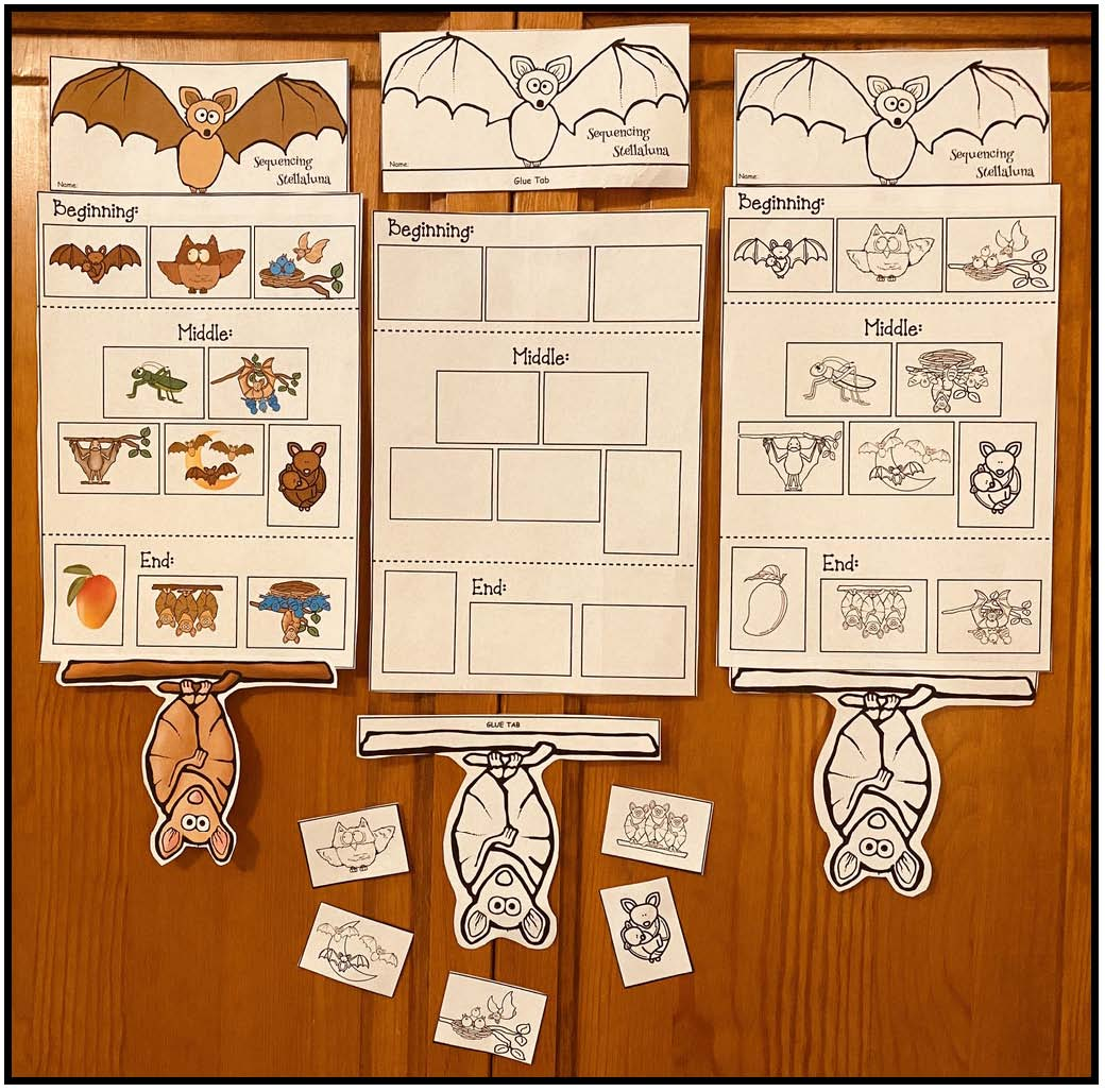 beginning middle end of Stellaluna sorting activity, activities for Stellaluna, bat activities, bat centers, literacy centers for October, bat bulletin board, Stellaluna craft, writing prompts for October, sequencing & retelling a story activities