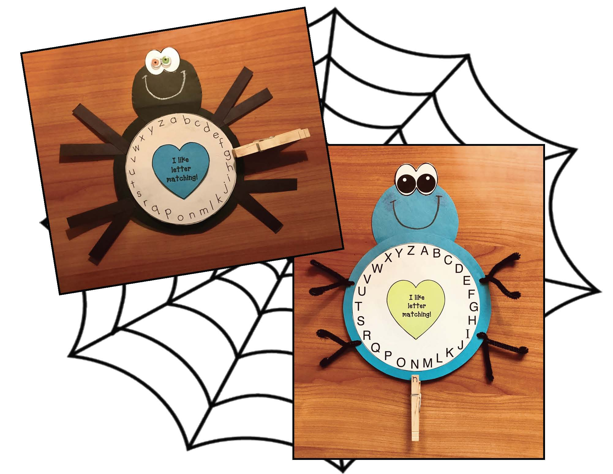 spider activities, spider games, spider crafts, alphabet games, alphabet assessments, alphabet centers, alphabet crafts