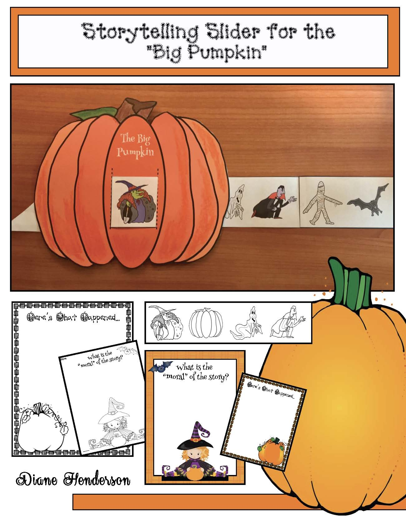 pumpkin crafts, halloween crafts, retelling a story activities, sequencing a story activities, activities to go with Big Pumpkin, Halloween party ideas,