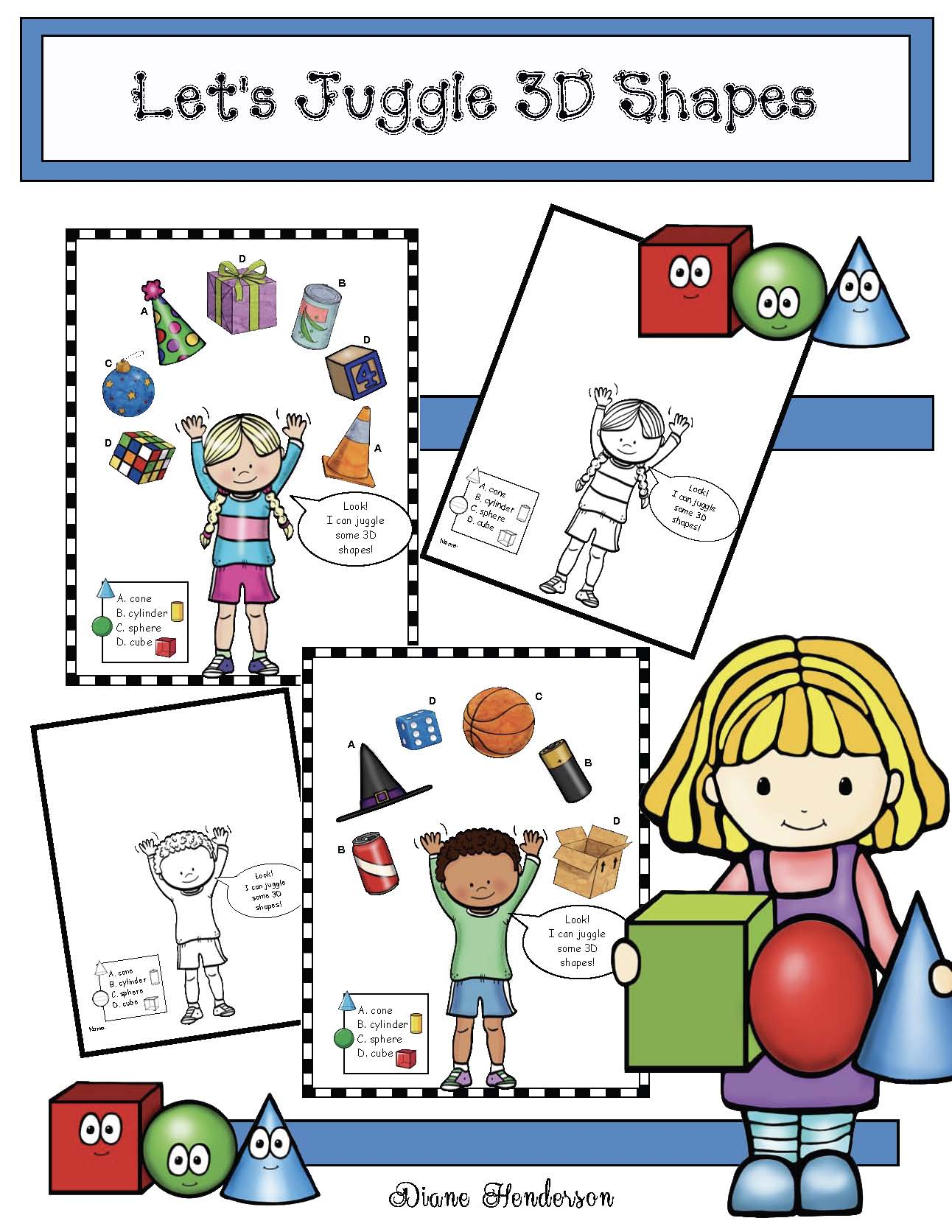 3D shape activities, 3D shape crafts, 3D shape bulletin boards