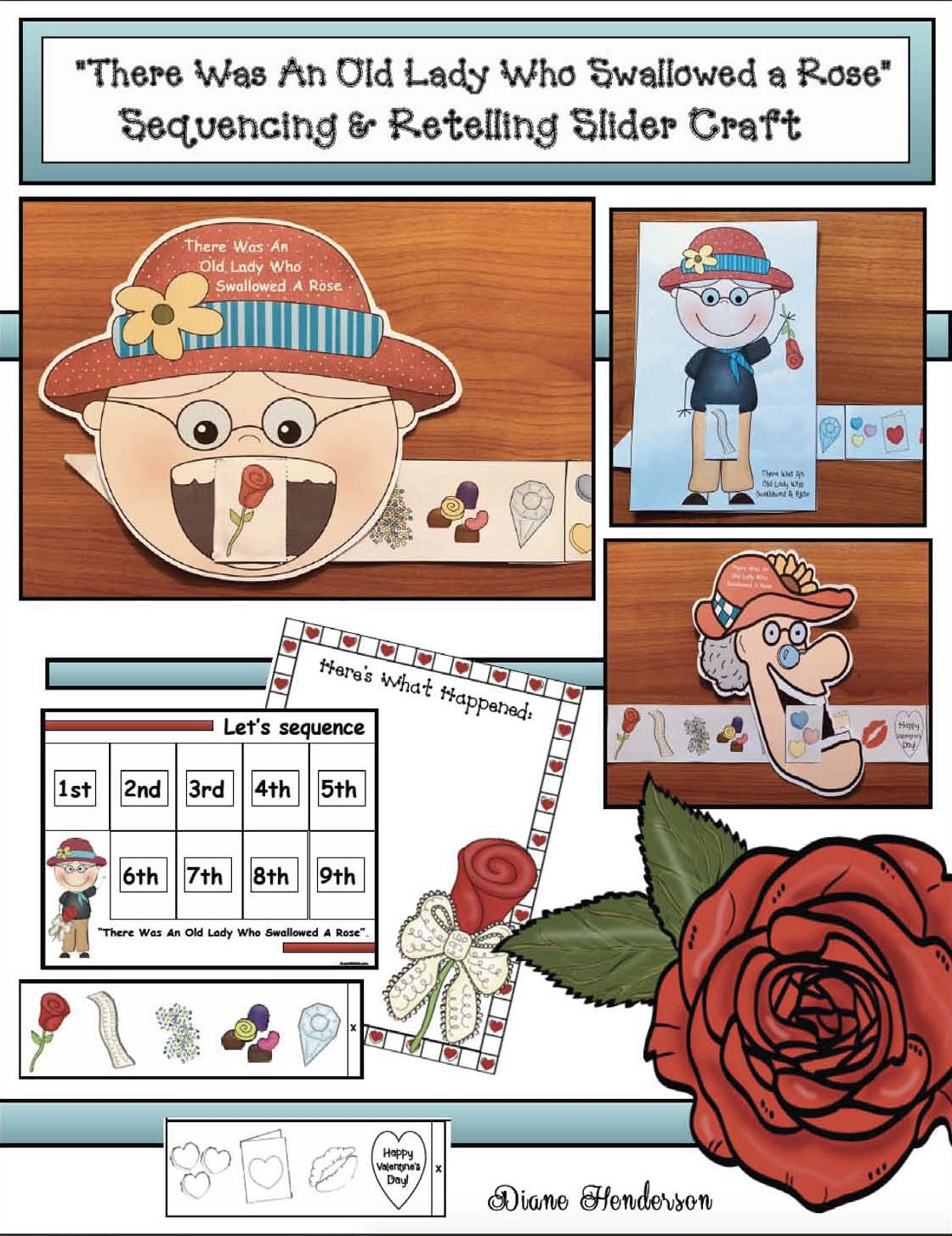 There was an old lady who swallowed a rose activities, valentine party ideas,  valentine stories, sequencing & retelling a story activities