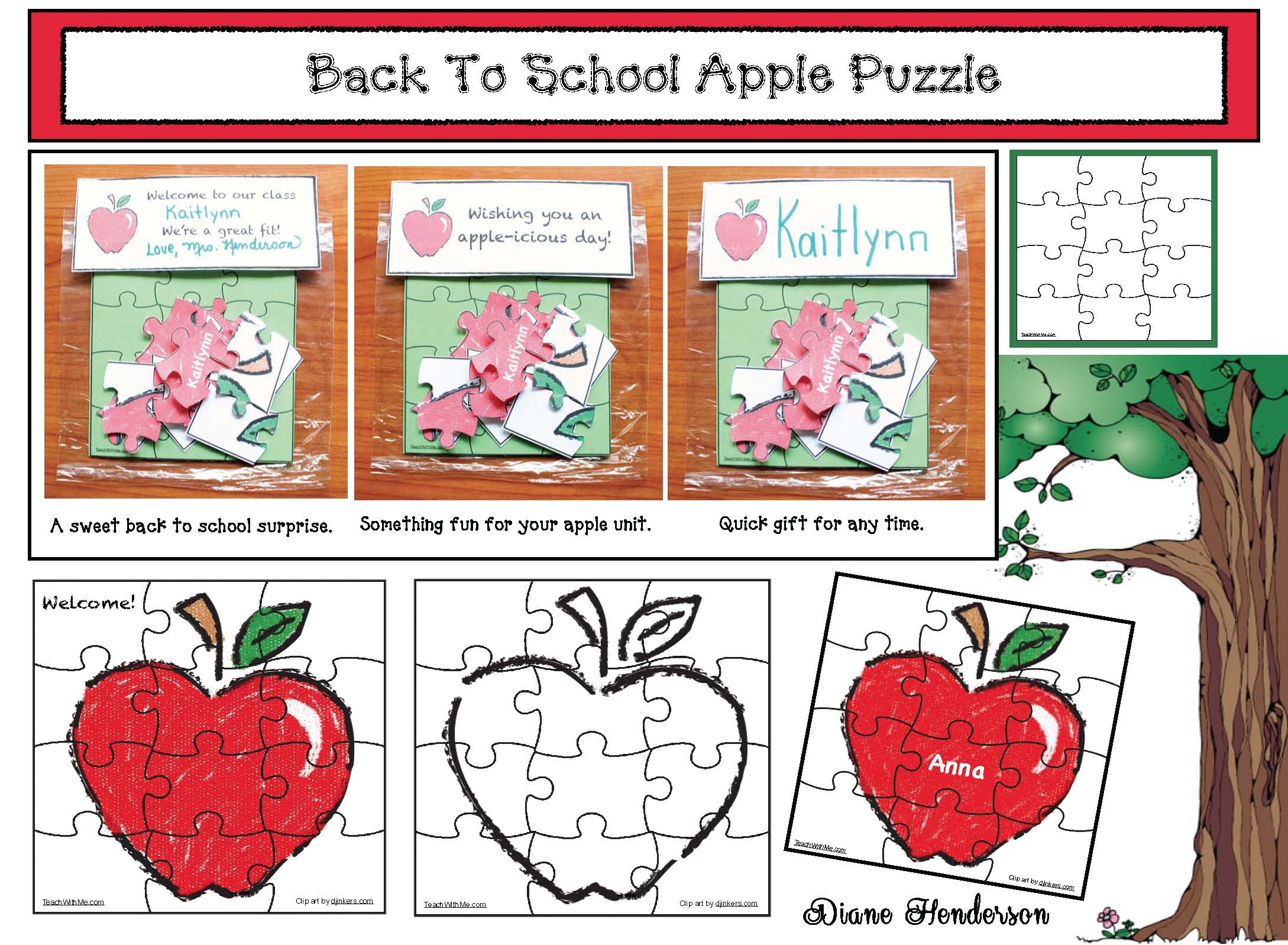 apple crafts, apple activities, treat bags for back to school