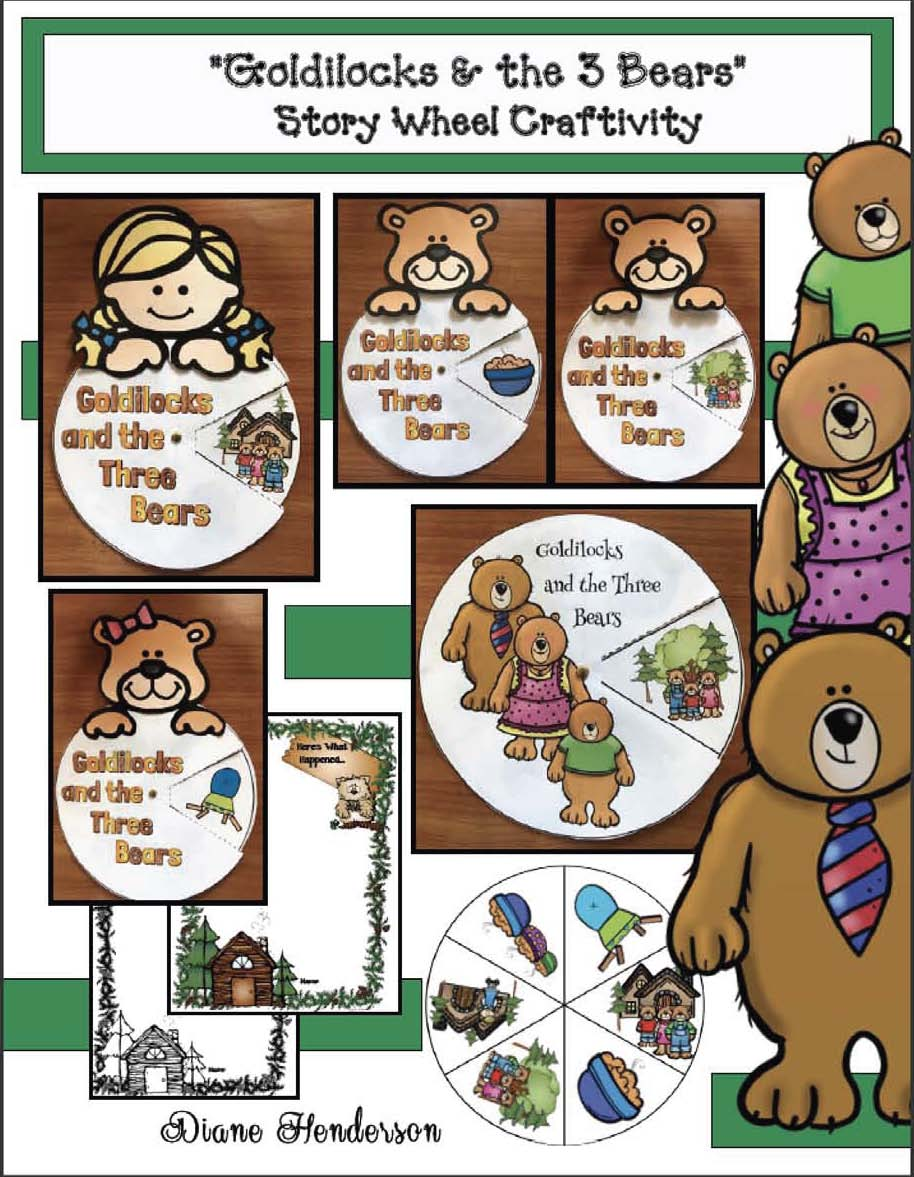 Goldilocks and the 3 bears crafts, goldilocks and the 3 bears activities, fairy tale activities, fairy tale crafts, retelling a story activities, sequencing a story activities