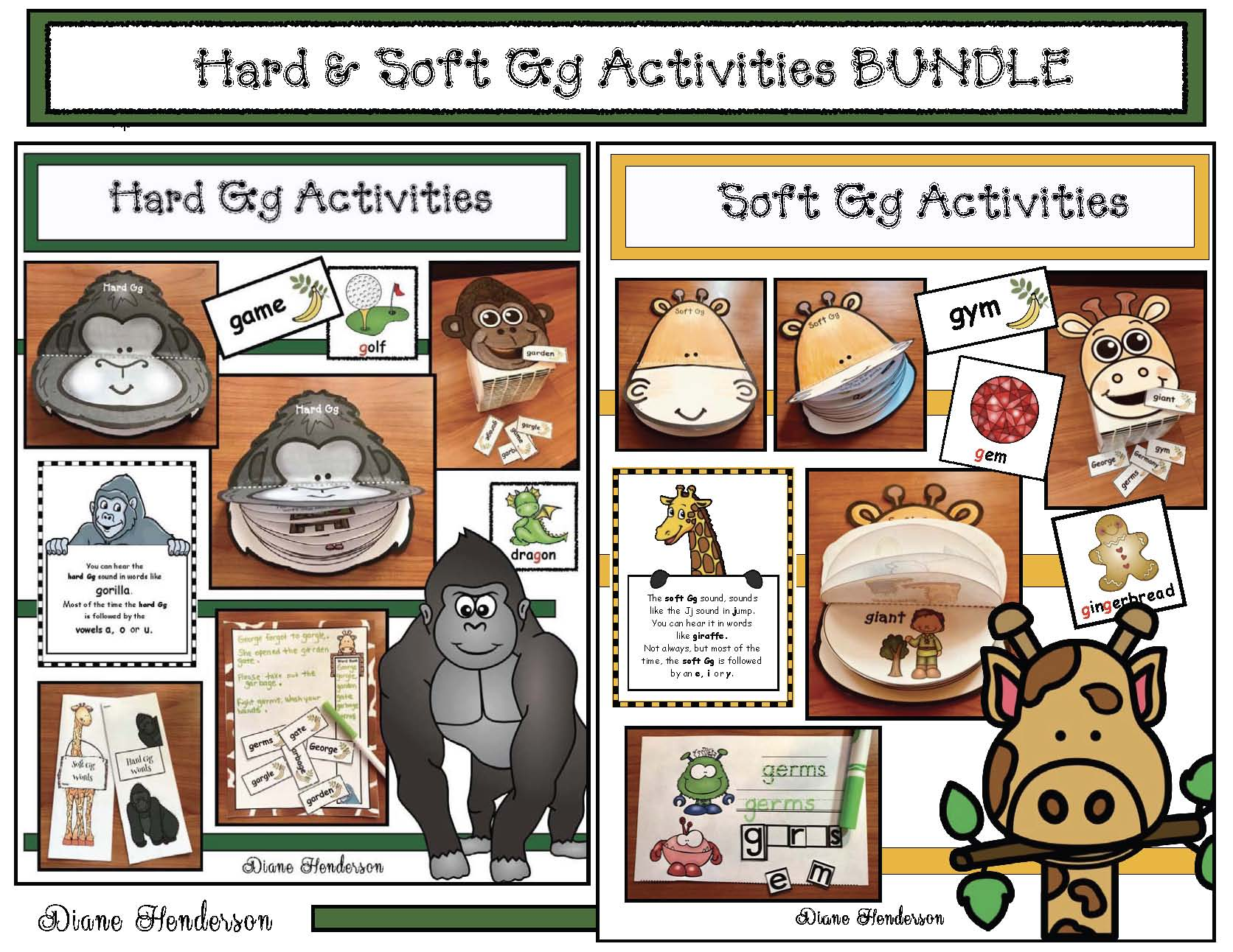 hard and soft g activities, games, crafts, word work