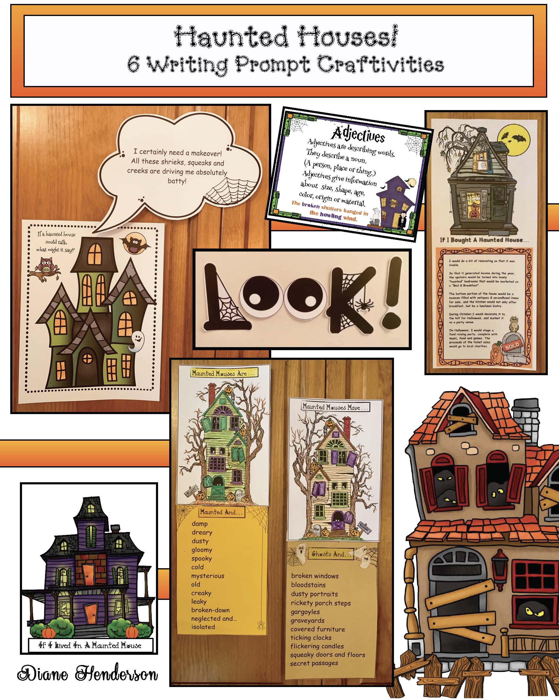 haunted house craft, halloween crafts, october bulletin board ideas, halloween bulletin board ideas, october writing prompts, halloween writing prompts, haunted house activities