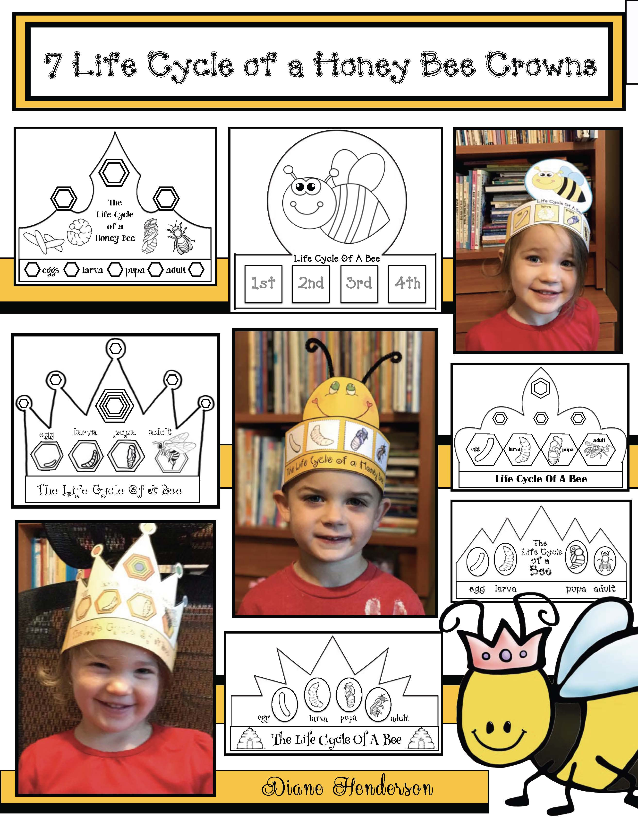 bee crowns, crown crafts for kids, beekeeping, bee crafts, honey bee crafts, honeybee activities, beehive craft, life cycle of a bee activities