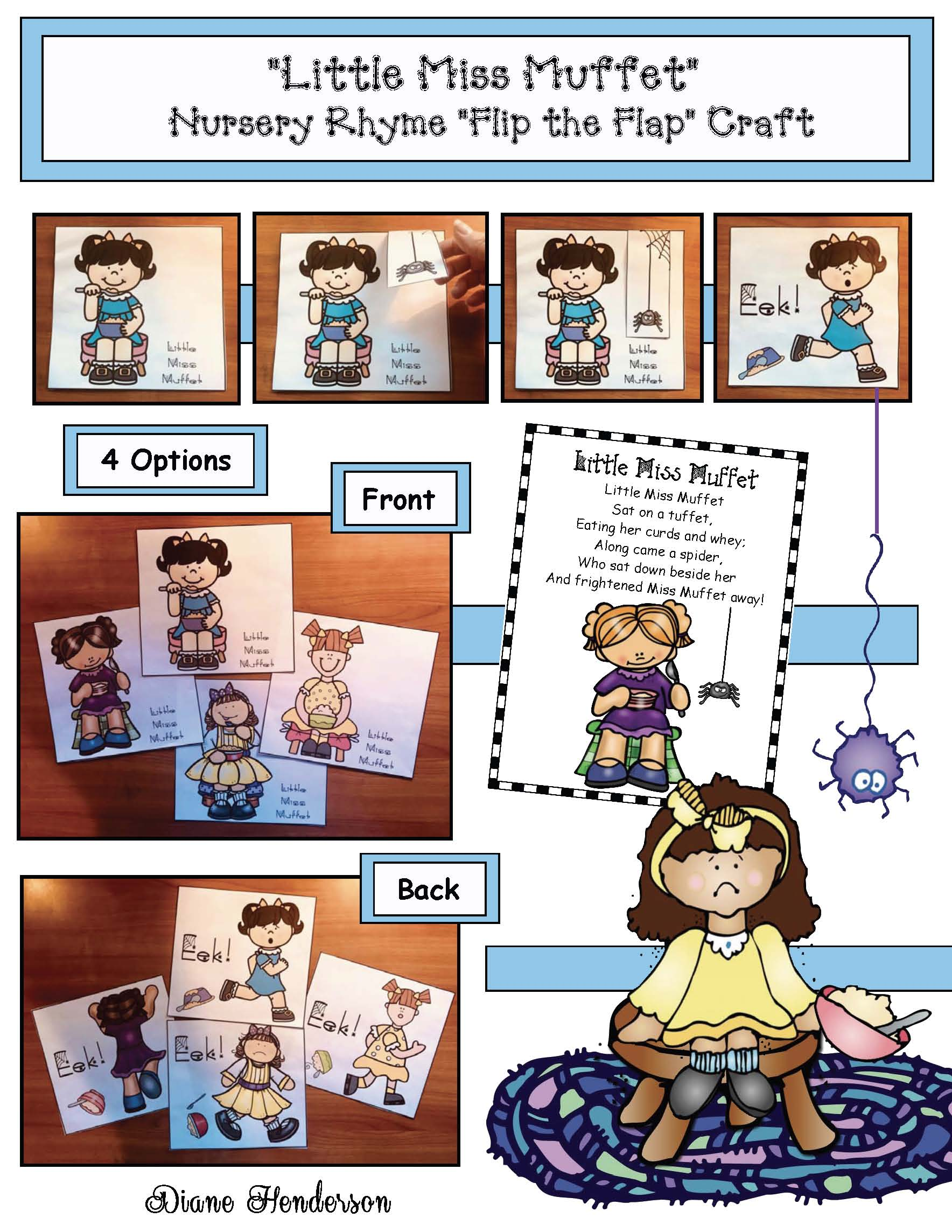 nursery rhyme activities, little miss muffet activities, nursery rhyme crafts, nursery rhyme posters, spider activities, spider crafts