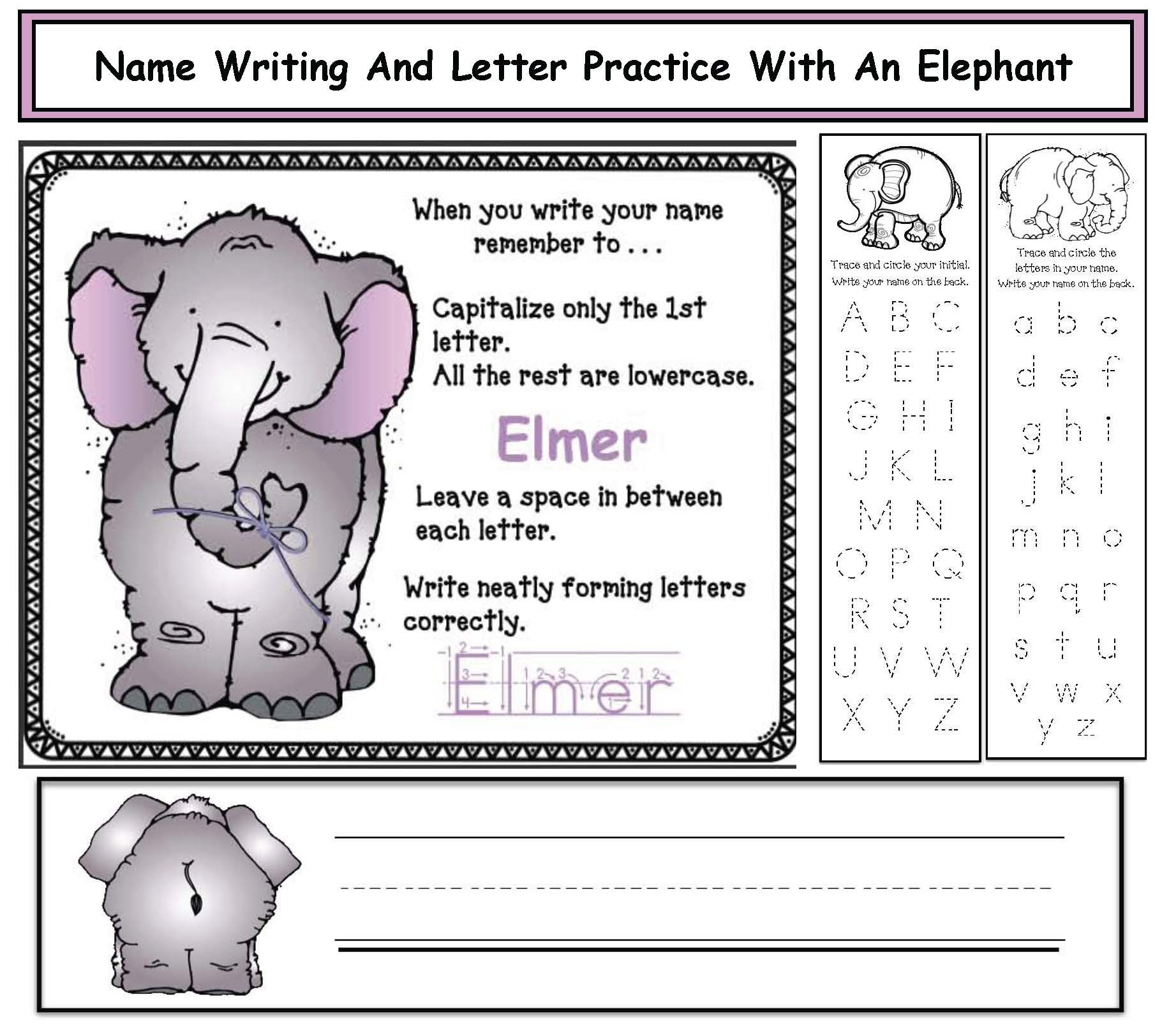 Elmer the elephant activities, name writing activities, name writing crafts, back to school name activities, back to school ideas, icebreakers, elephant crafts, Elmer crafts, Elmer activities