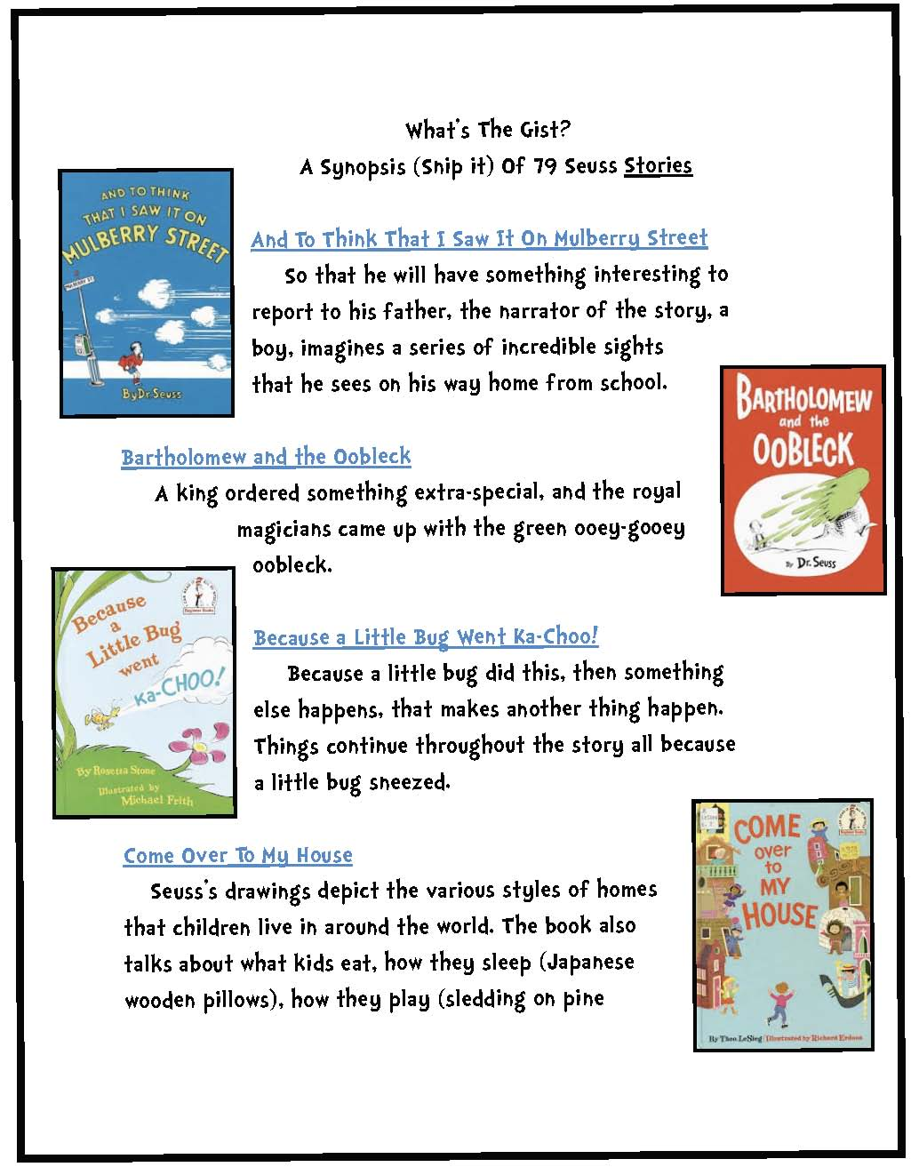 a synopsis of all Dr. Seuss books & stories
