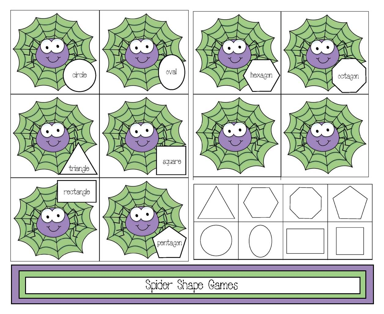2D spider themed shape game, spider activities, spider games, spider crafts, alphabet crafts, alphabet assessments, alphabet games
