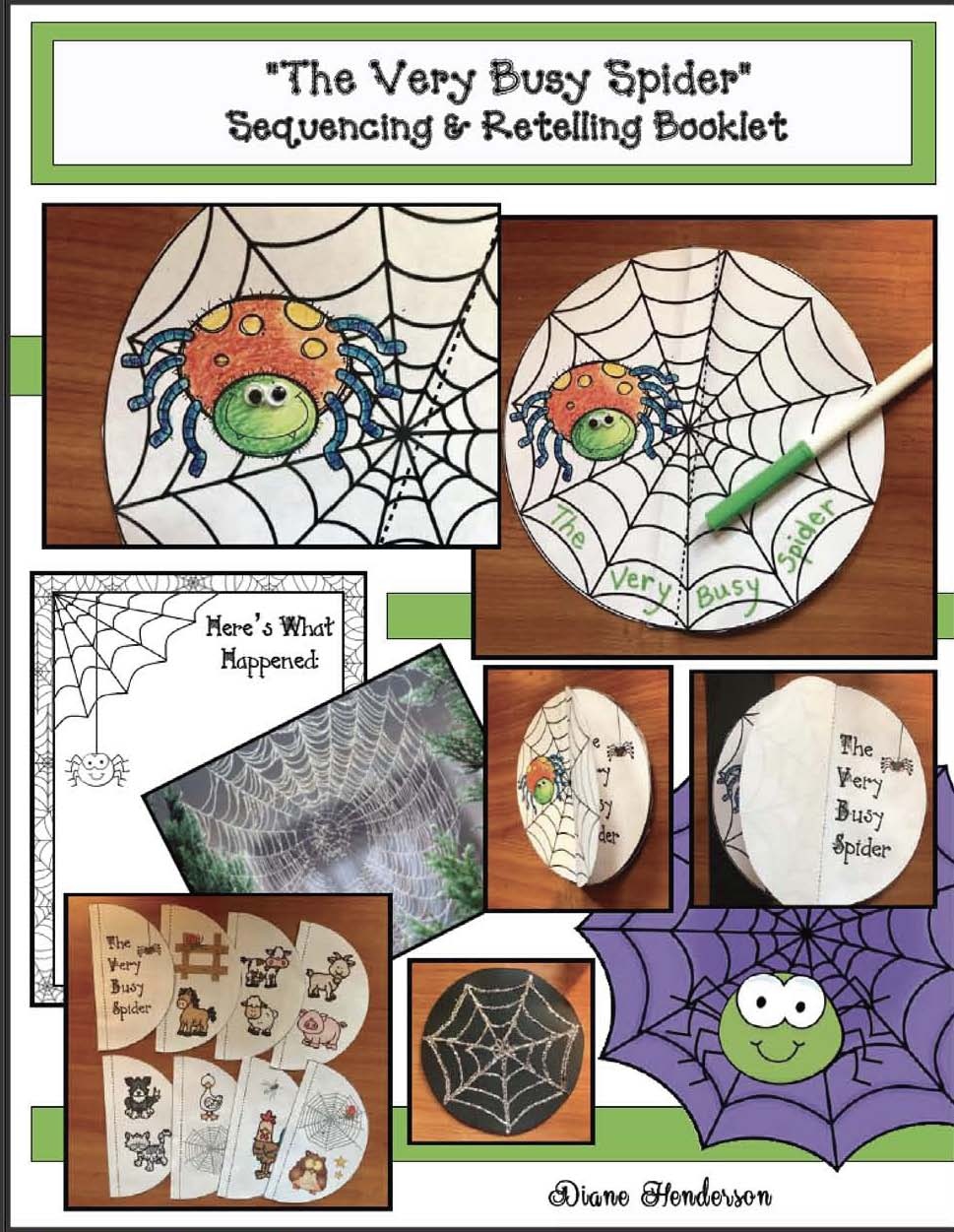 activities for the very busy spider, activities for the very busy spider, spider activities, spider crafts, eric carle's the very busy spider, eric carle activities, sequencing a story activities, retelling a story activities