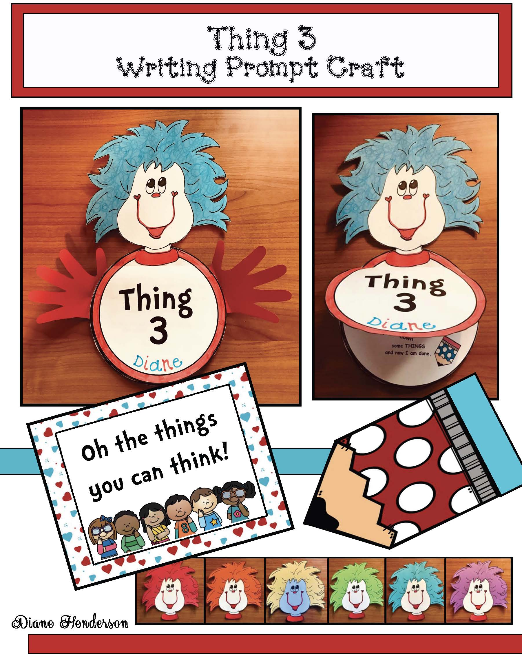 seuss crafts, seuss centers, seuss writing prompts, 5 senses activities, seuss bulletin boards, thing 1 and thing 2 activities, thing 1 and 2 crafts, read across america activities, march is reading month activties
