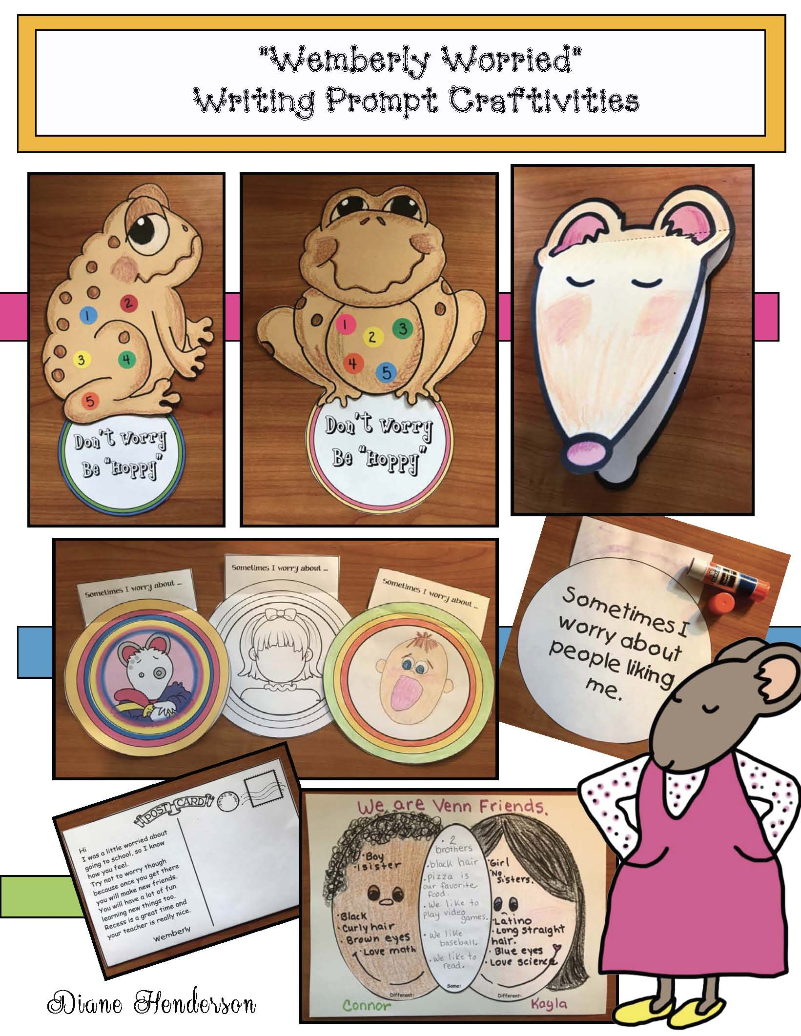 wemberly worried activities, back to school stories, back to school bulletin boards, back to school crafts, back to school writing prompts, activities for Wemberly Worried, Kevin Henkes books
