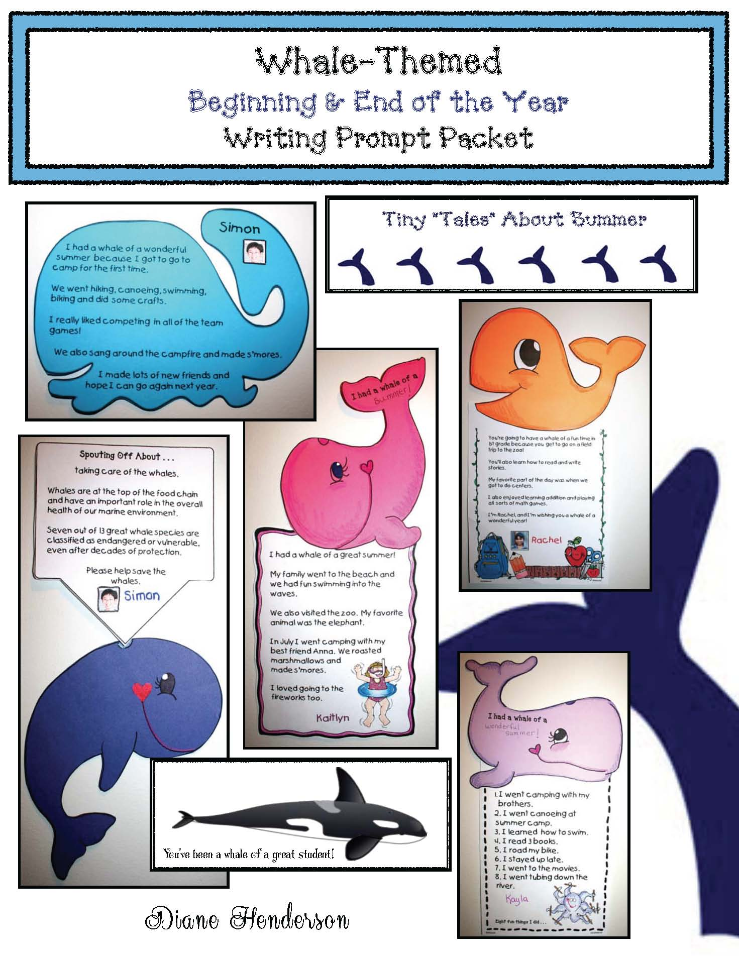whale crafts, whale activities, writing prompts, back to school activities, end of they year activities, writing bulletin boards