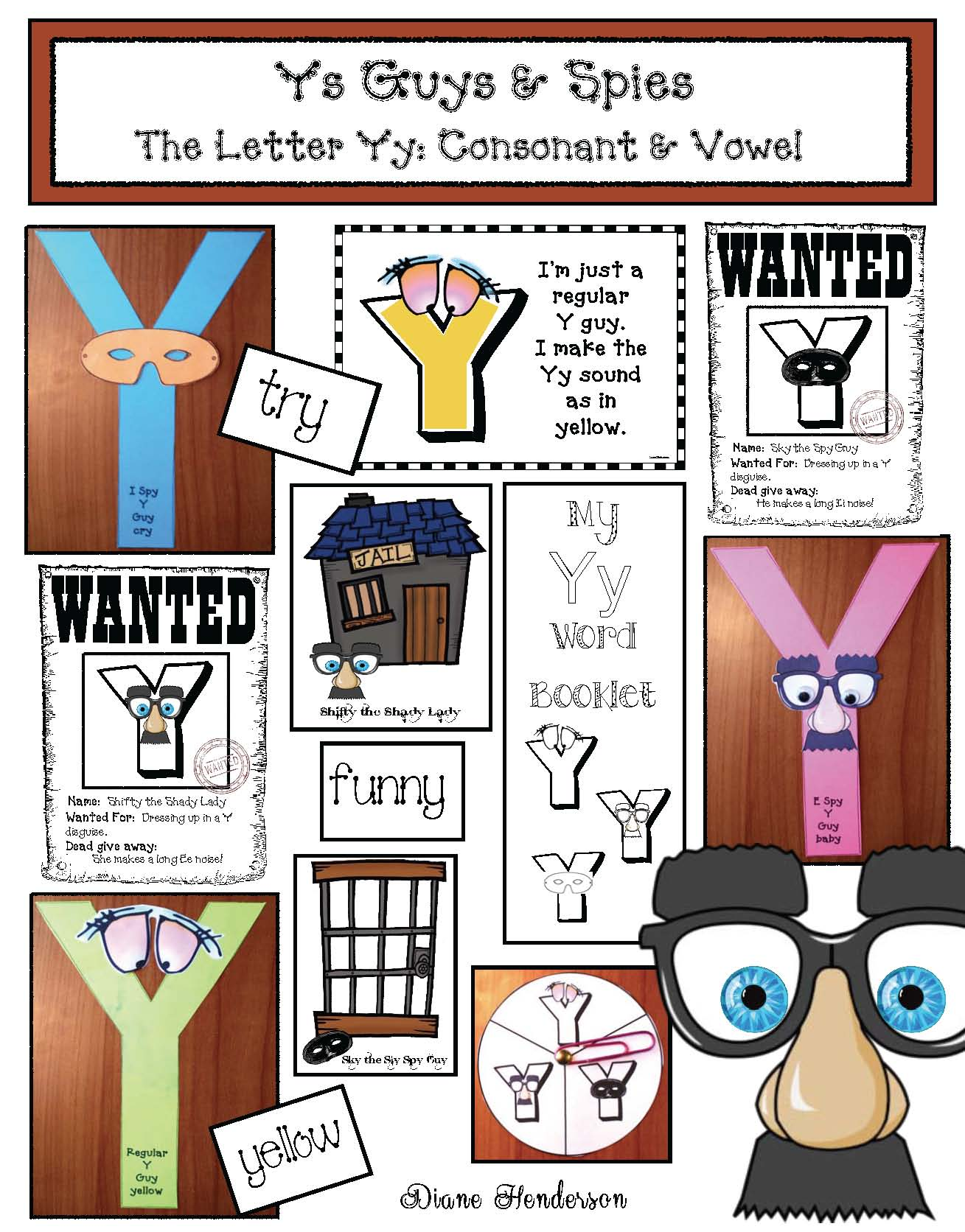 vowel activities, vowel crafts, vowel games, vowel worsheets, letter Y activities, letter Y games, letter Y worksheets, letter Y crafts, Y as a vowel activities, list of words with Y as a long i, list of words with Y as a long e,