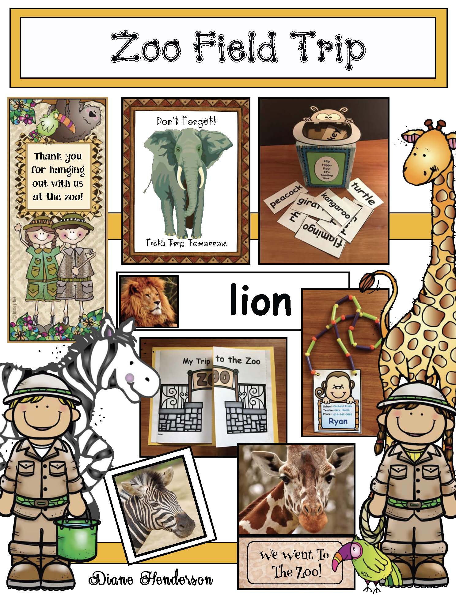 zoo activities, zoo field trip activities, animal activities, emergent reader booklet,