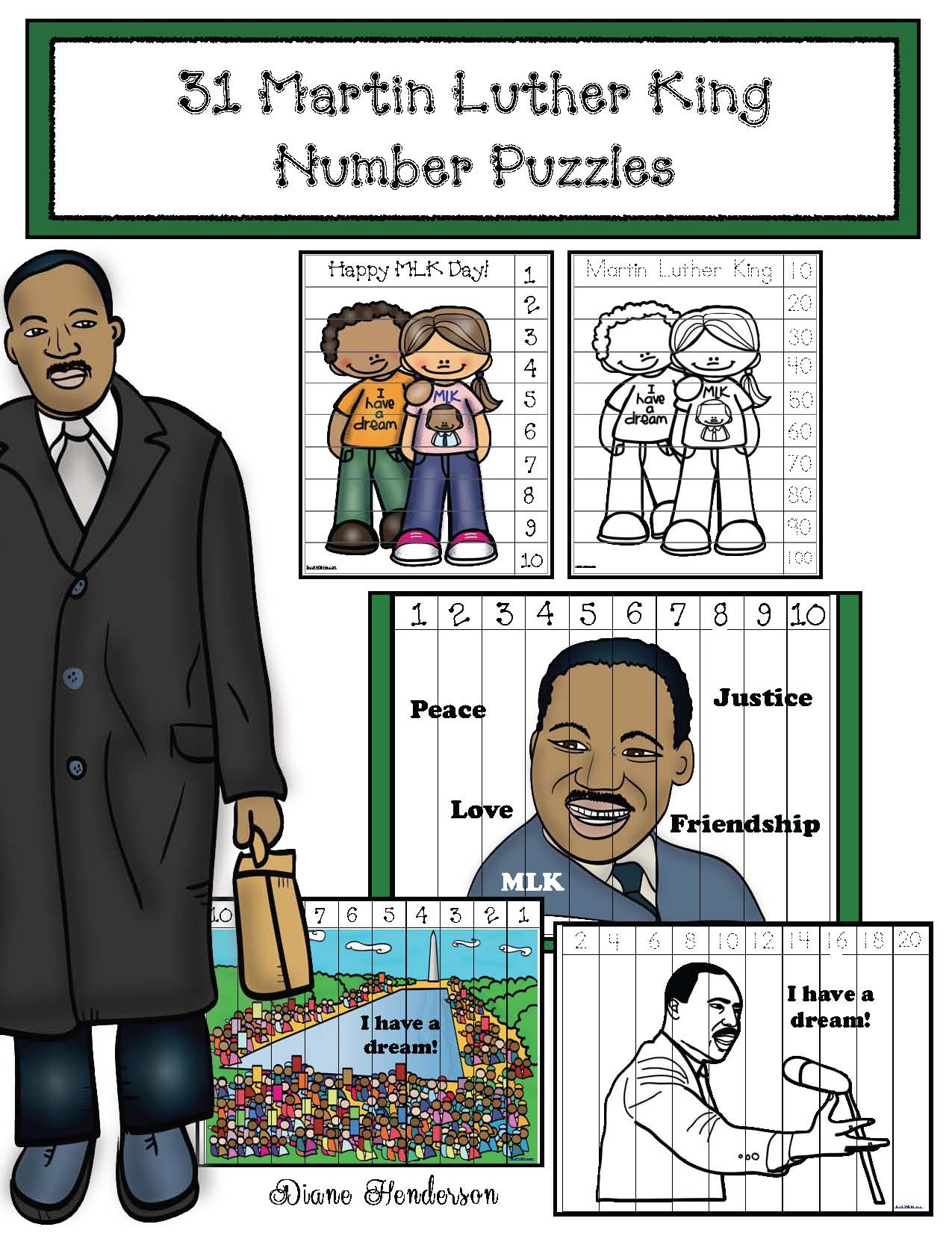 MLK activities, martin luther king activities, martin luther king crafts, MLK crafts, writing prompts for January, writing prompts for martin luther king day, word work for january, daily 5 for january, number puzzles, skip counting activities, skip counting crafts, january bulletin board ideas, MLK vocabulary words, Martin Luther King vocabulary
