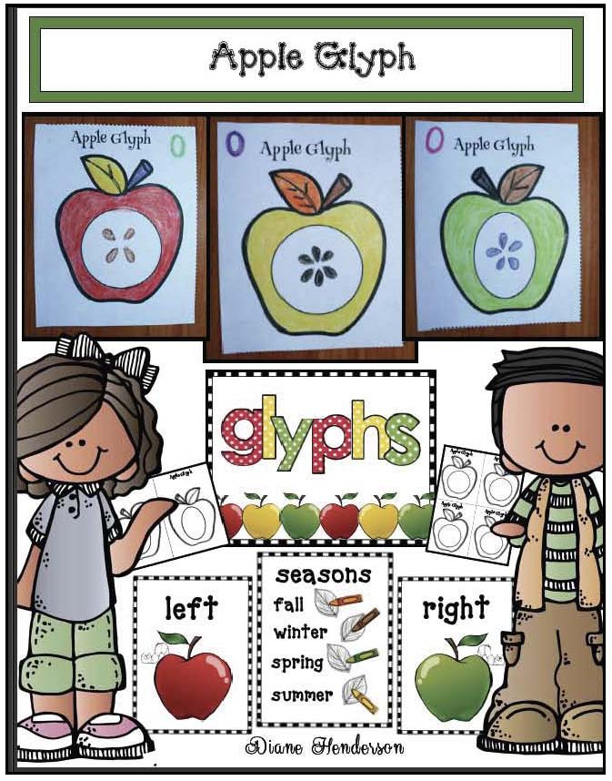 apple glyph, scarecrow glyph, pumpkin glyph, assessing listening and following directions, back to school activities, apple activities, scarecrow activities, scarecrow crafts, apple craftss, getting to know you ice brekers