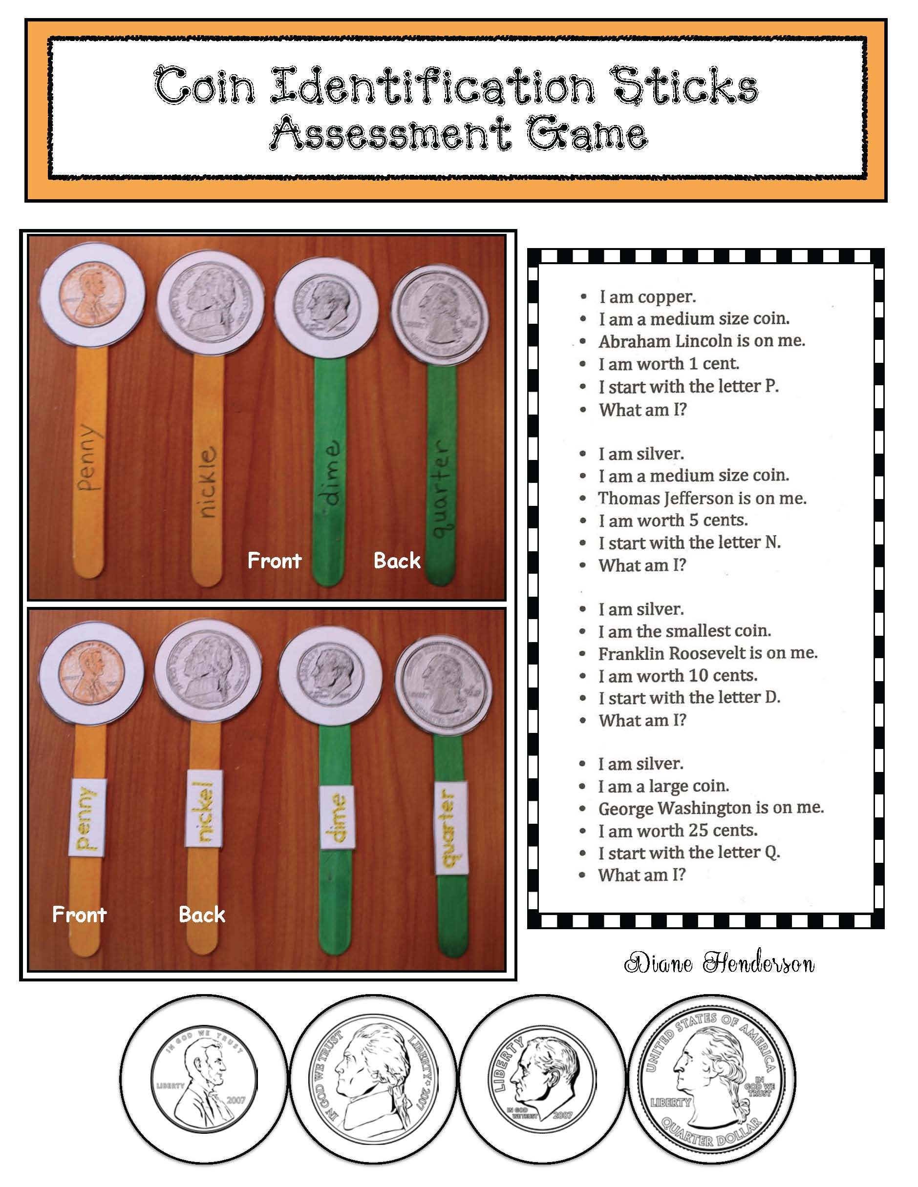 presidents day activities, presidents day crafts, presidents day games, coin games, coin activities, coin crafts, coin assessments, coin centers, identifying coins