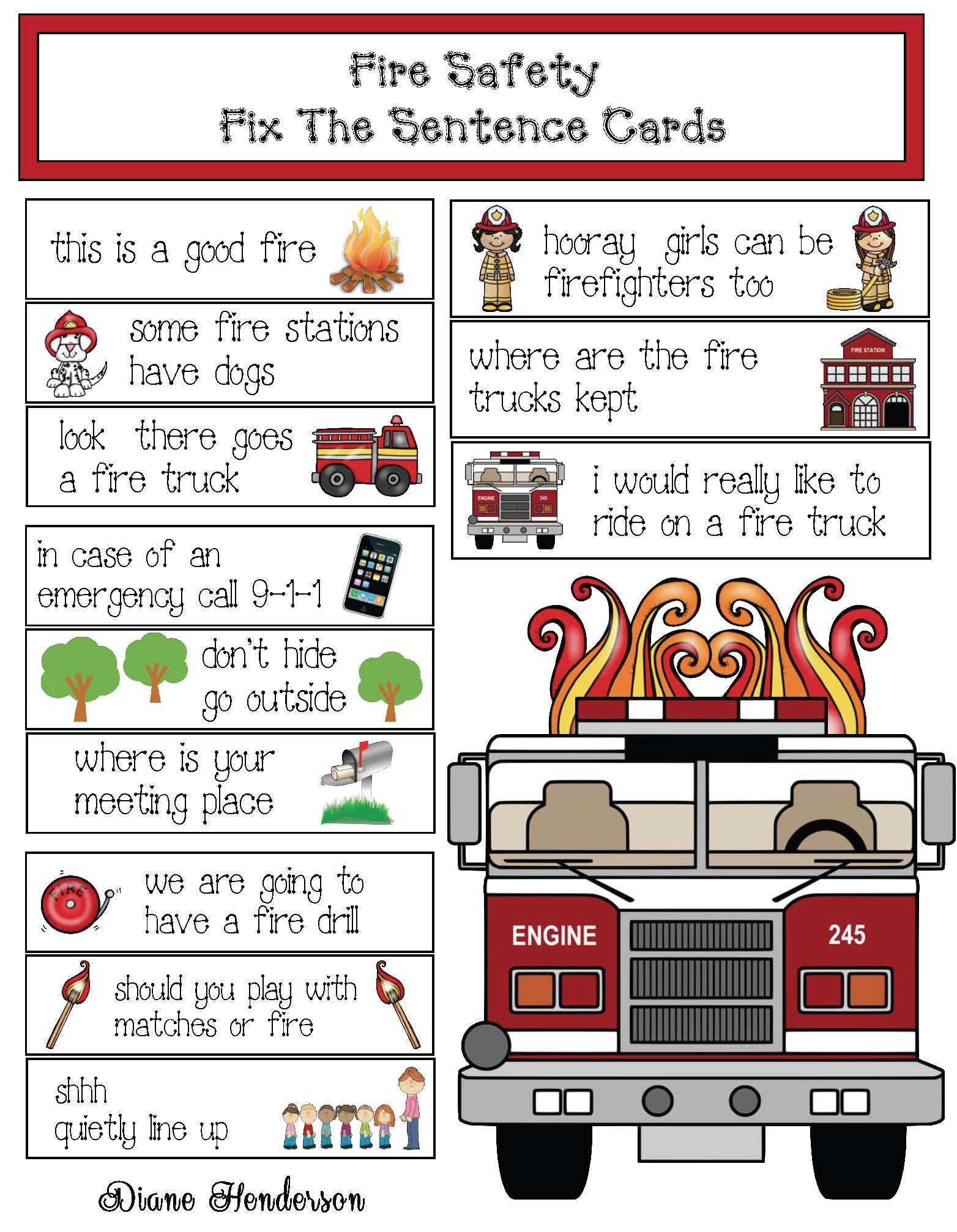 good fire bad fire activities, good fire photographs, fire safety games, fire safety activities, fire safety centers, fire safety songs, 911 songs, fire safety crafts, end punctuation activities