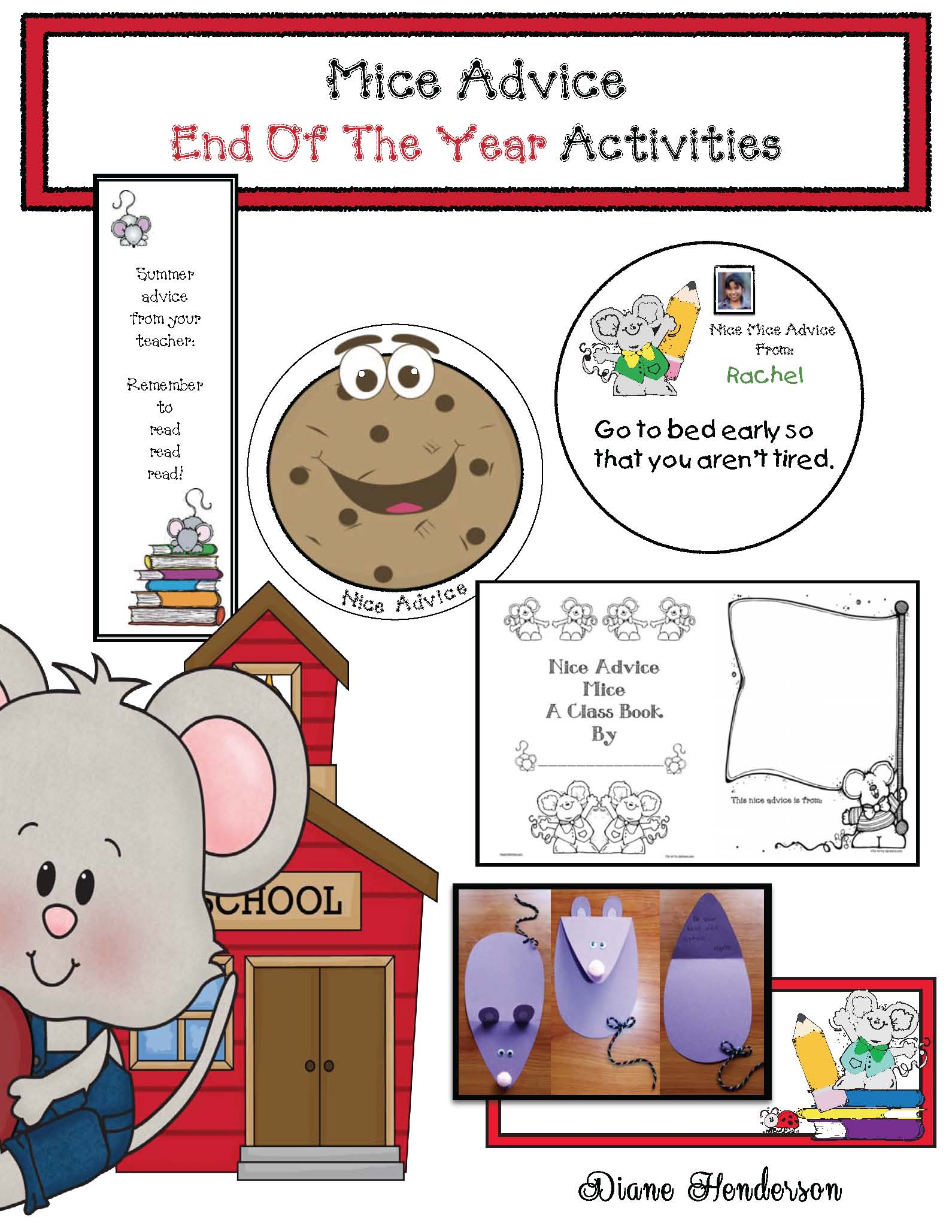 end of the year activities, activities for if you take a mouse to school, activities for if you give a mouse a cookie, Laura numeroff activities, advice for next years students, end of the year activities, end of the year crafts, end of the year bulletin boards, end of the year writing prompts, mice crafts, mice activities, back to school treats, back to school bulletin boards, back to school activities, rules for school, class made books, classroom rules, rule posters