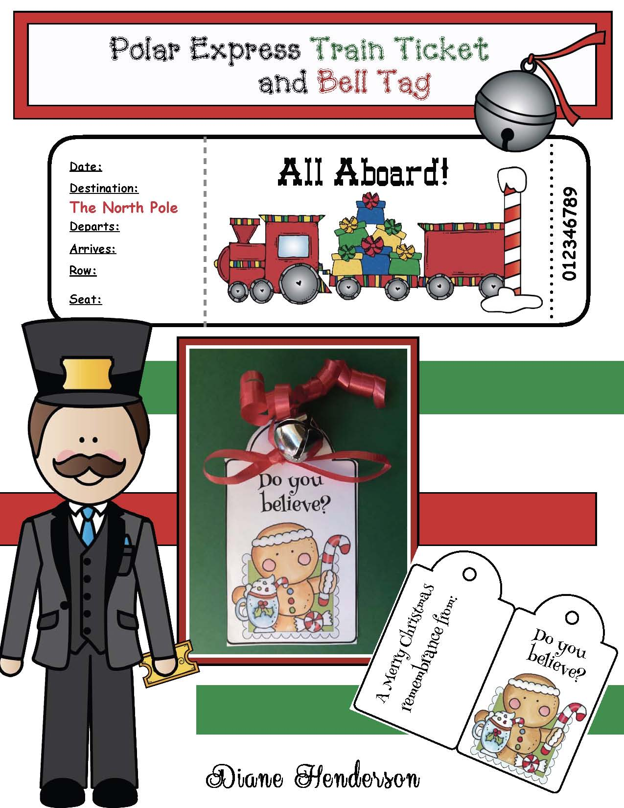 Free Polar Express Train ticket, Polar Express gift tag for a bell
