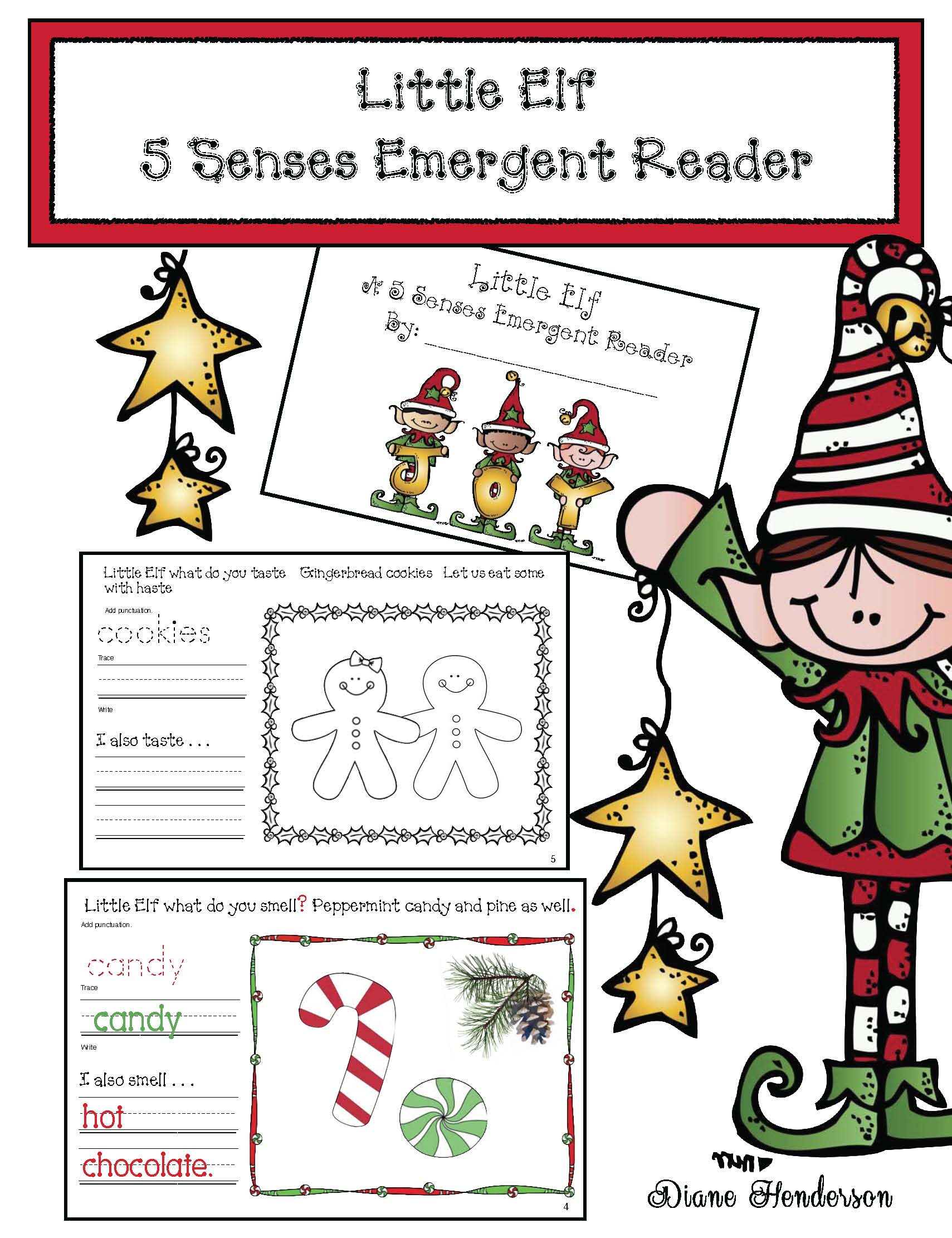 elf activities, elf emergent reader, emergent reader booklets, elf on a shelf activities