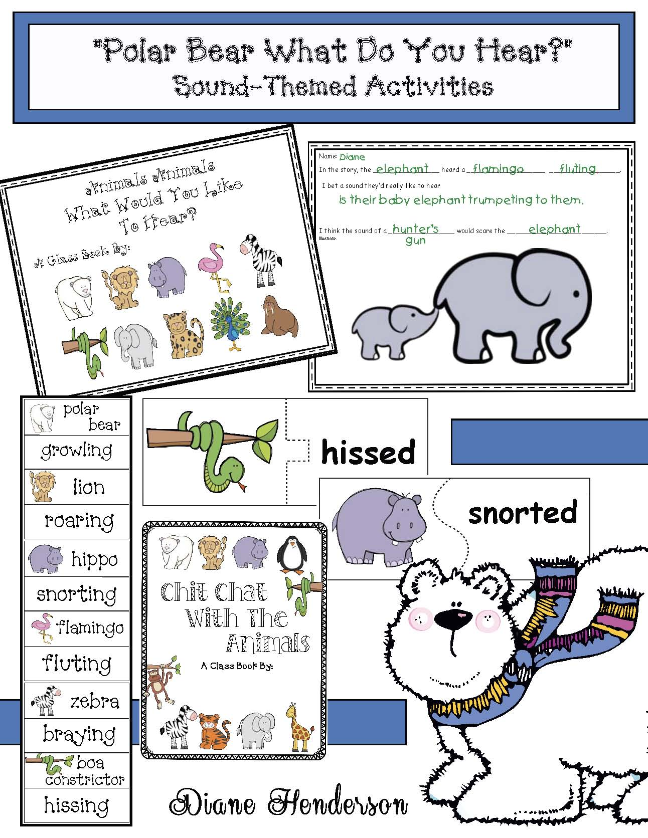 polar bear what do you hear activities, 5 senses activities, eric carle books, bill martin books, polar bear crafts, retelling a story activities, sequencing a story activities, farm animal activities, story wheels, emergent reader books, winter center activities,class made books