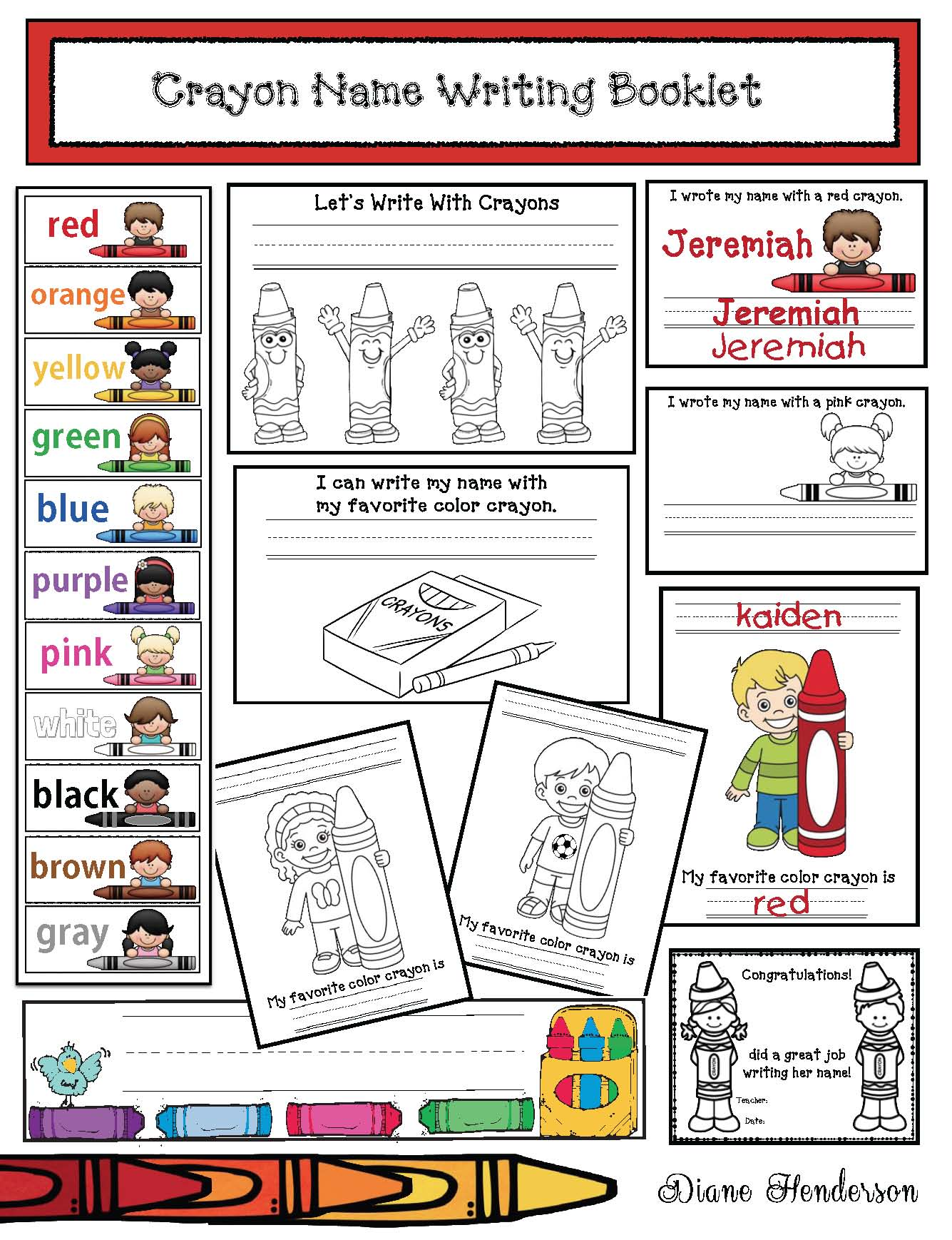 name writing activities, name writing booklet, name writing practice, for crayon out loud, crayon color postrs,