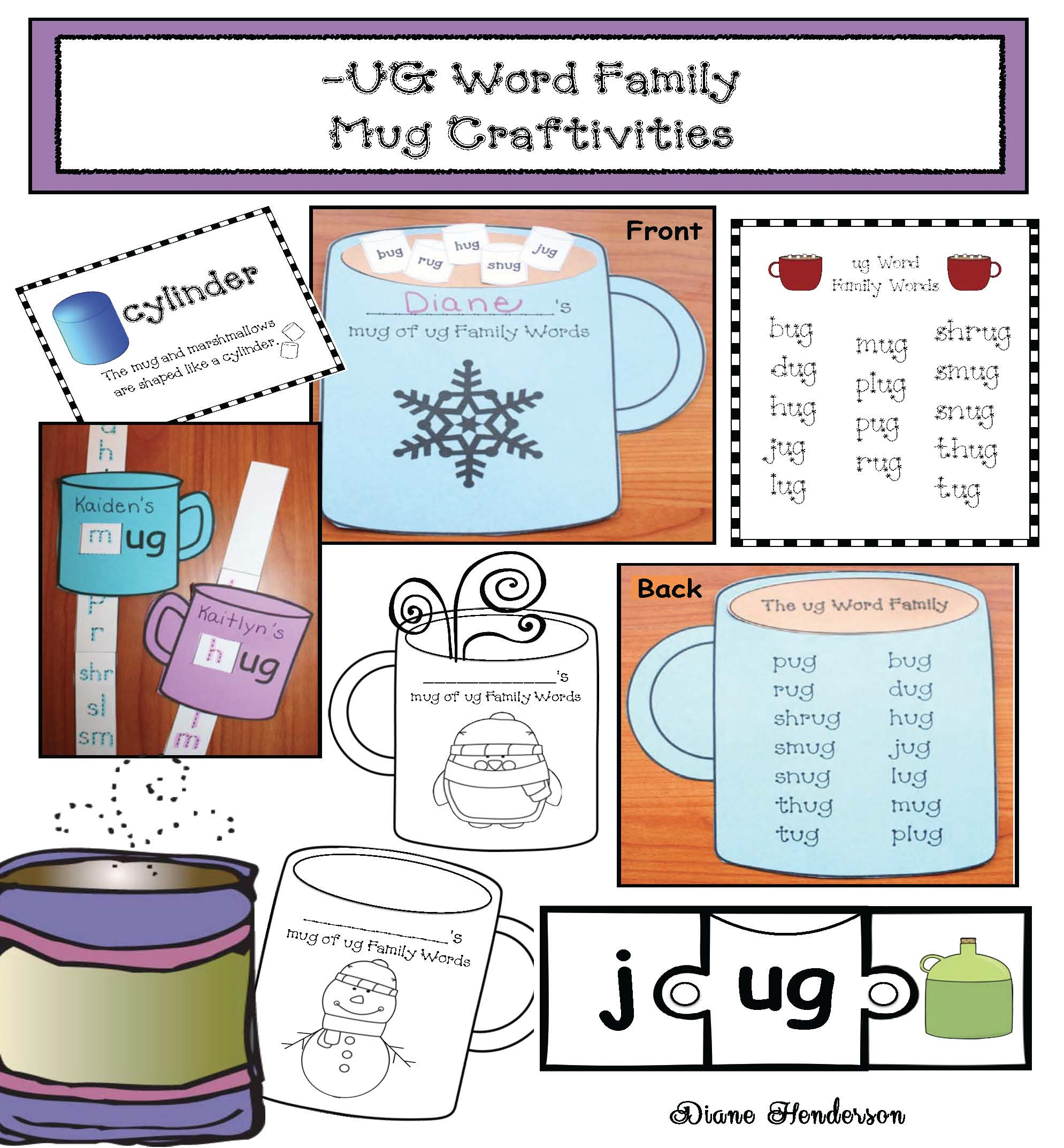mitten activities, magic e activities, silent e activities, mitten games, mitten centers, winter word work, hot chocolate activities, ug word family, ug word activities