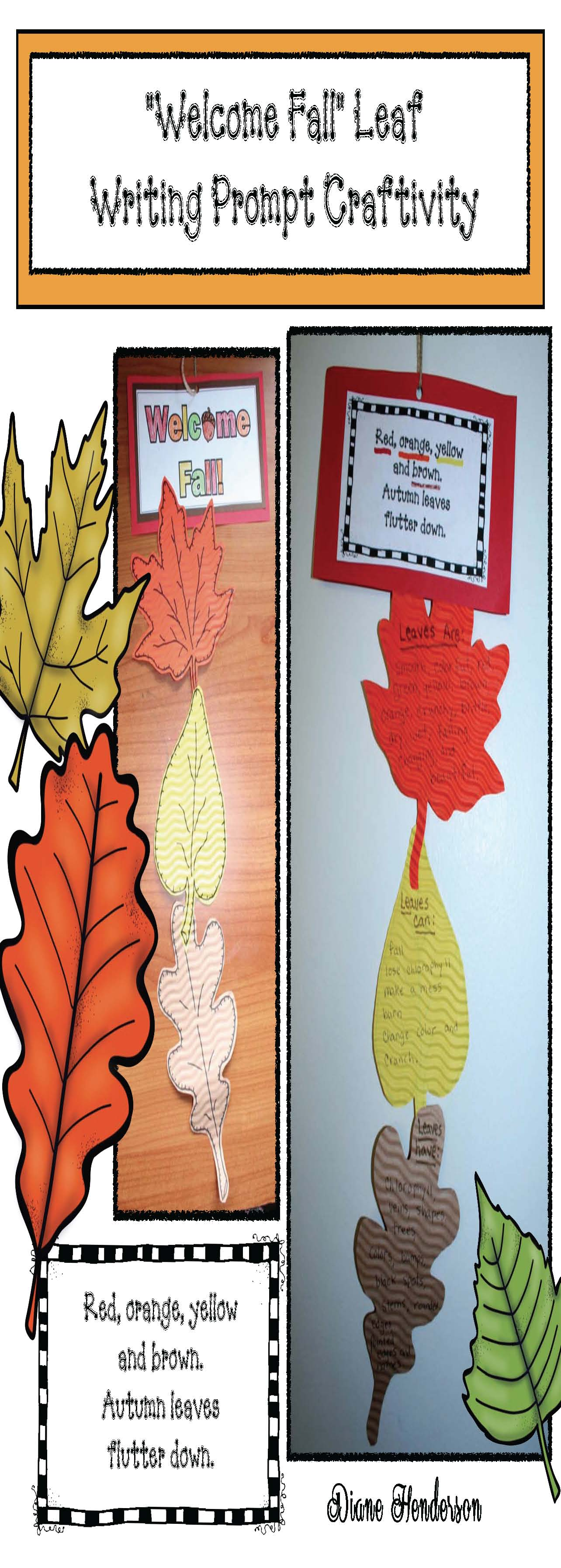 leaf crafts welcome fall leaf dnagler fall writing prompts