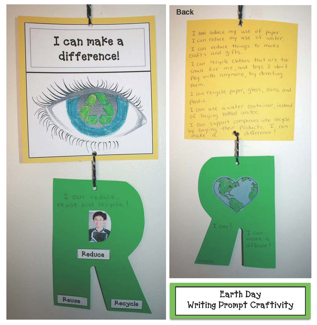 earth day crafts, earth day writing prompts, reduce reuse recycle activities, writing prompts for april