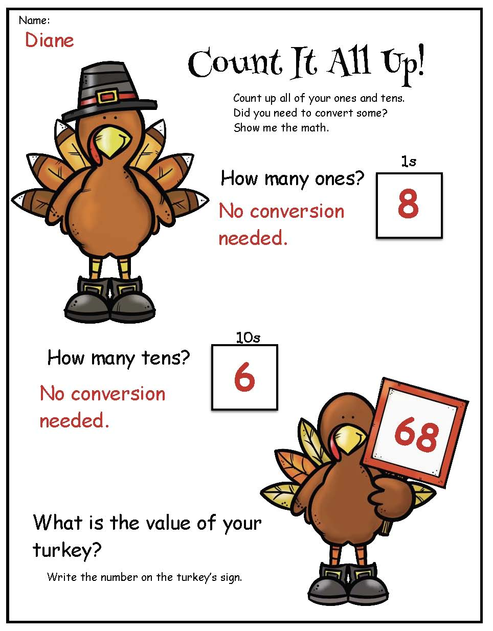 place value activities, Thanksgiving crafts, turkey crafts, November math activities, turkey bulletin board ideas, November bulletin board ideas