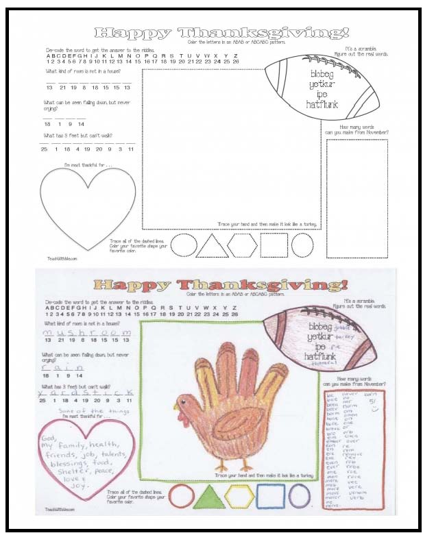 Thanksgiving Place mat, turkey crafts, thanksgiving crafts, thanksgiving actiities