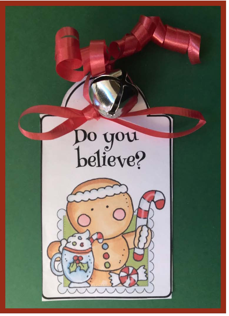 Beileve git tag, silver bell gift tag for the polar express