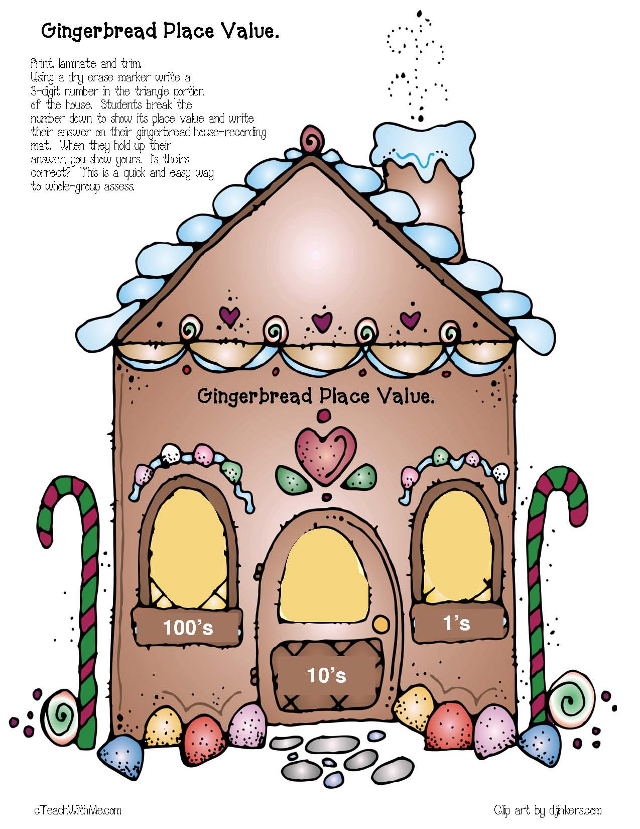 gingerbread place value mat, gingerbread activities, math games,