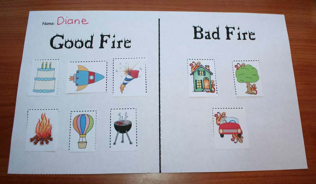 fire safety activities, fire safety crafts, fire safety centers, fire safety games, fire safety songs, good and bad fires, end punctuation activities