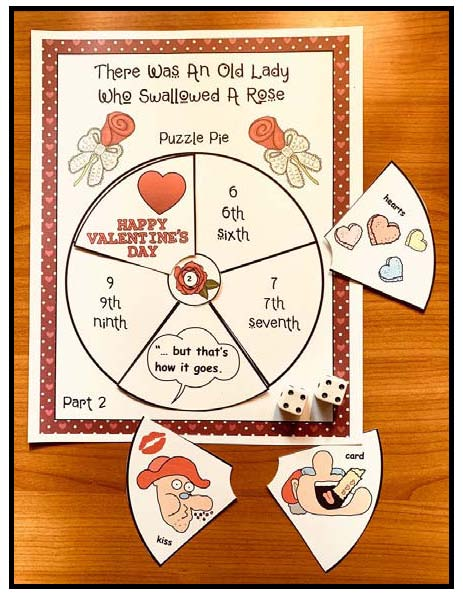 there was an old lady who swallowed a rose wheel craft, There was an old lady who swallowed a rose activities, valentine party ideas,  valentine stories, sequencing & retelling a story activities