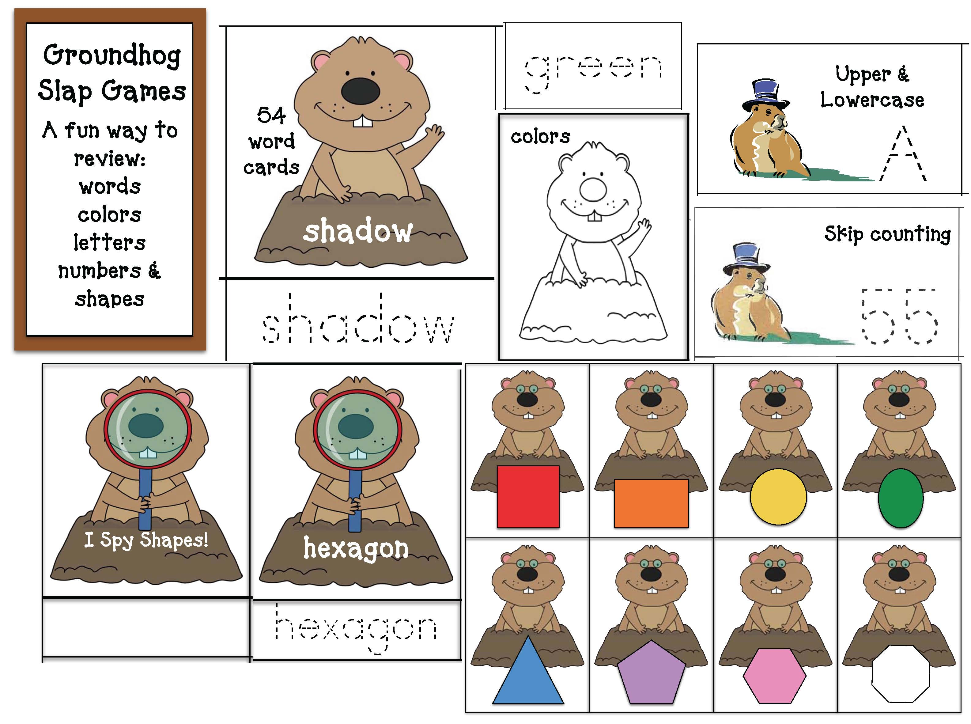 groundhog fun facts, groundhog crafts, groundhog centers, groundhog bulletin boards, groundhog games, writing prompts for February, non-fiction groundhogs, February bulletin board ideas