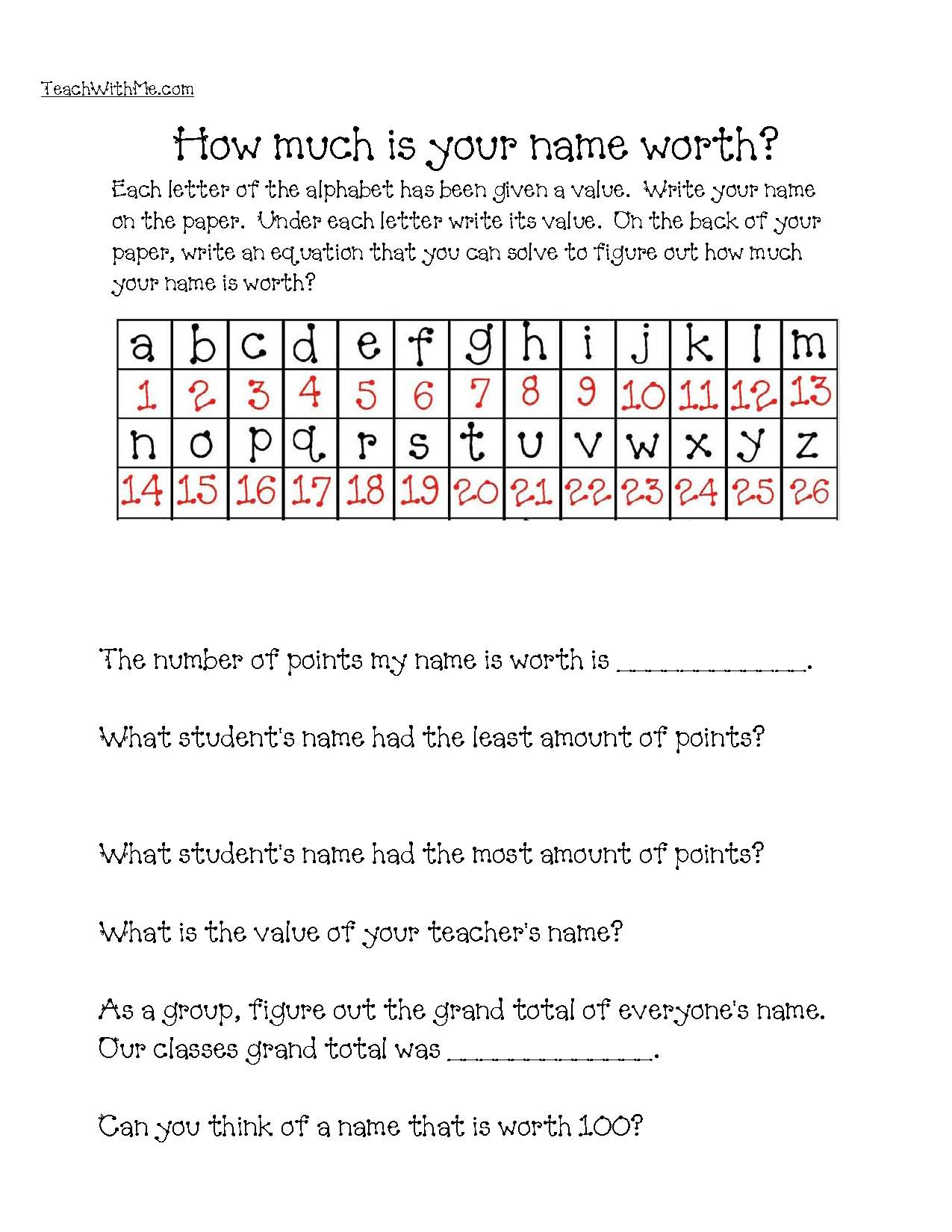 dollar words, 100 dollar words, how much is your name worth worksheet, 100 point words, dollar word clues, list of dollar words,dollar word game, dollar word list, 740 list of dollar words, 100 day games, 100 day centers, 100 day activities, 100 day ideas 100 day lessons, 100 day math activities, counting to 100 activities, addition games, addition activities, 100 dollar point grid,