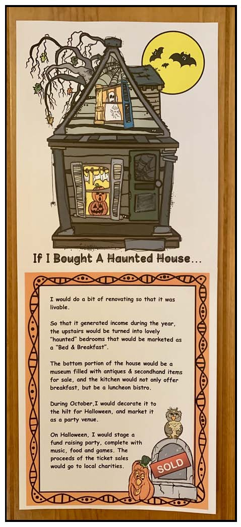haunted house craft, haunted house writing prompts, haunted house activities, october writing prompts, october bulletin board ideas, halloween bulletin board ideas, halloween activities, ideas for Halloween party day,