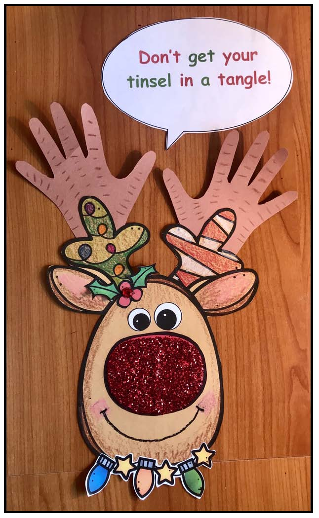 reindeer crafts, Christmas crafts, hand print crafts, December writing prompts, December bulletin board ideas, Christmas writing prompts
