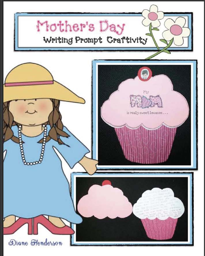 mothers day cupcake card, mothers day crafts, mothers day cards, mothers day activities, mothers day writing prompts